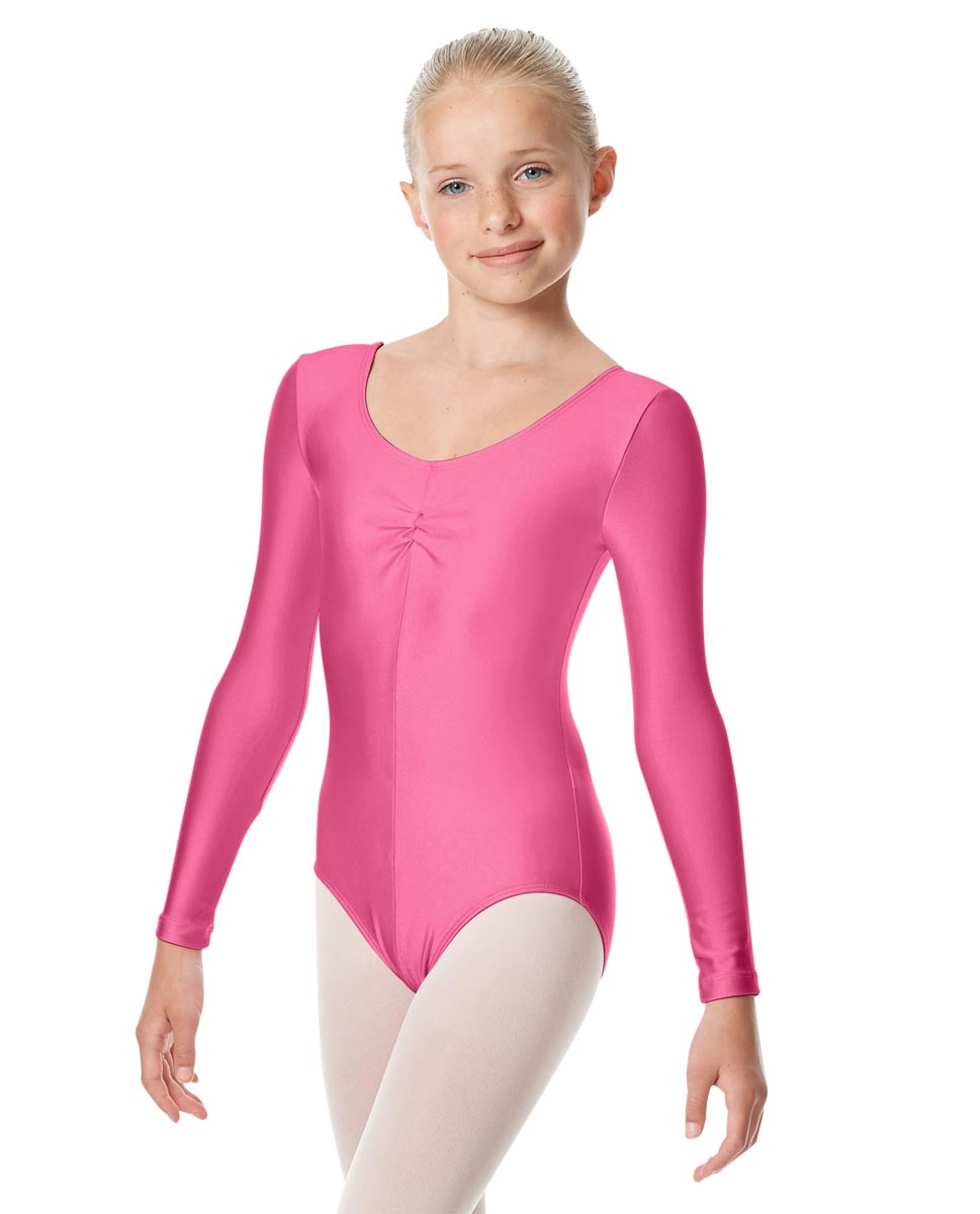 Child Shiny Long Sleeve Pinch Front Ballet Leotard Giselle ROS