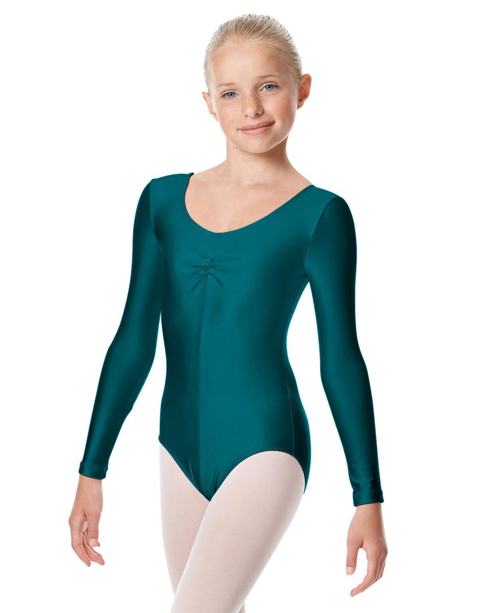 Child Shiny Long Sleeve Pinch Front Ballet Leotard Giselle TEA