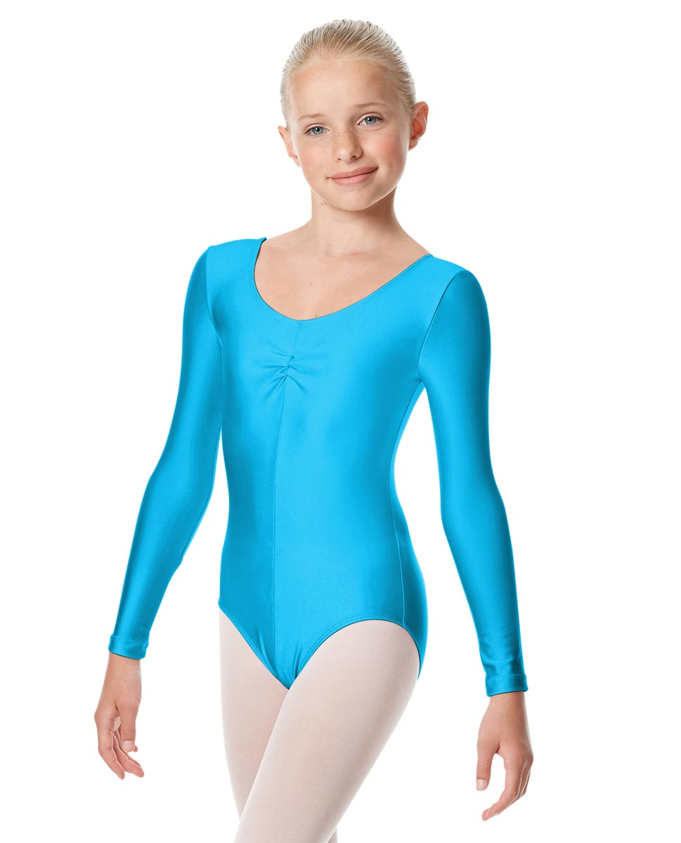 Child Shiny Long Sleeve Pinch Front Ballet Leotard Giselle TUR