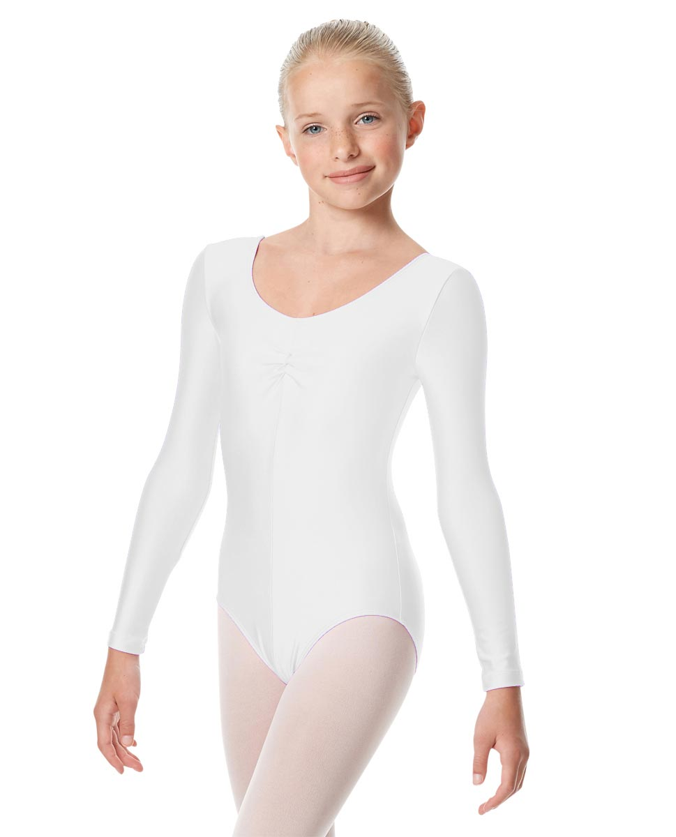 Child Shiny Long Sleeve Pinch Front Ballet Leotard Giselle WHI