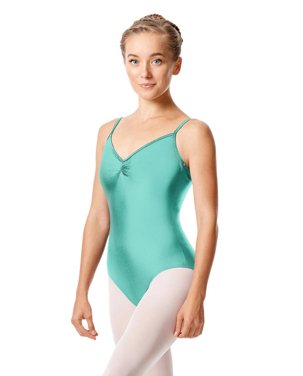 Womens Shiny Pinch Front Camisole Dance Leotard Agnes ABLU