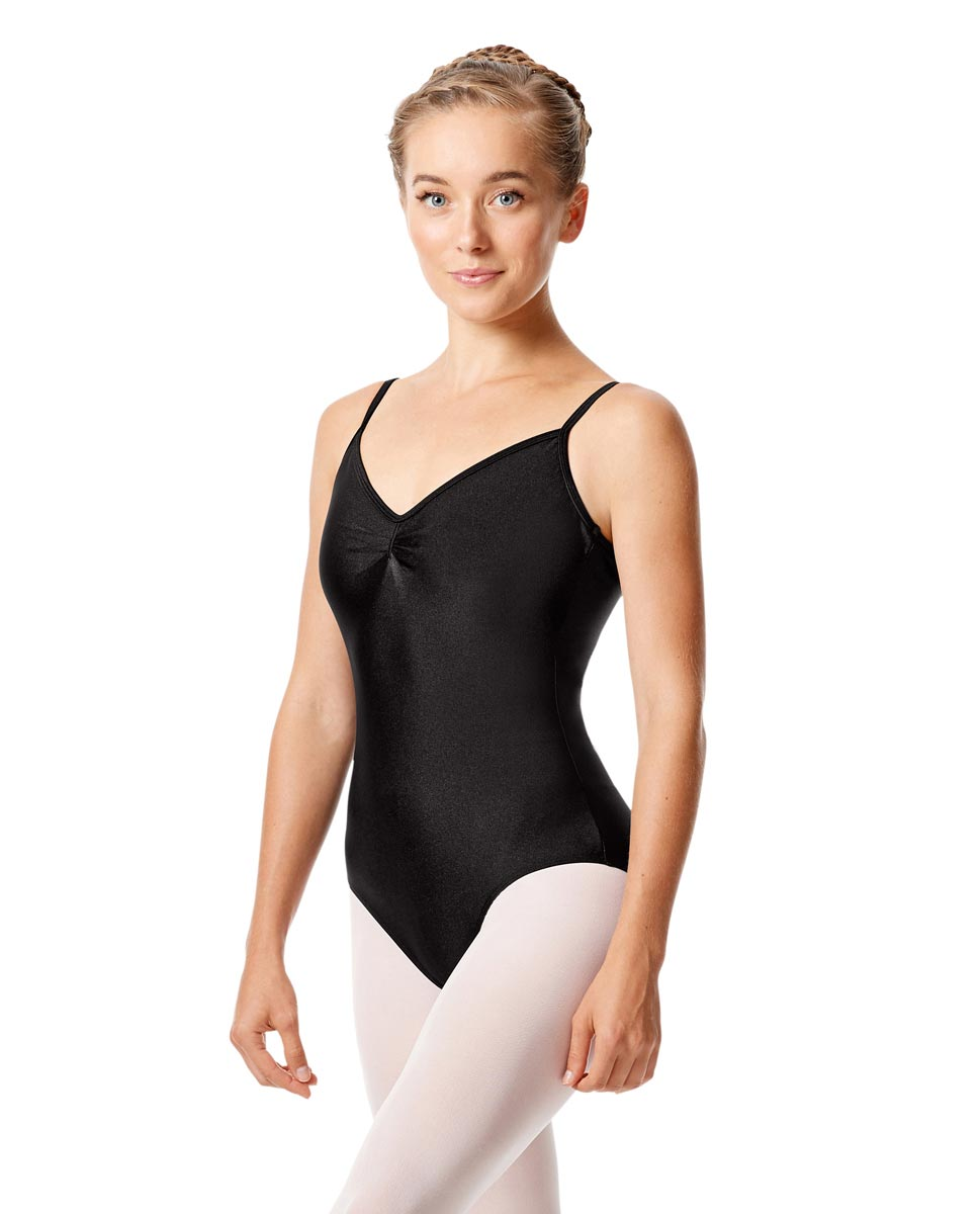 Womens Shiny Pinch Front Camisole Dance Leotard Agnes BLK