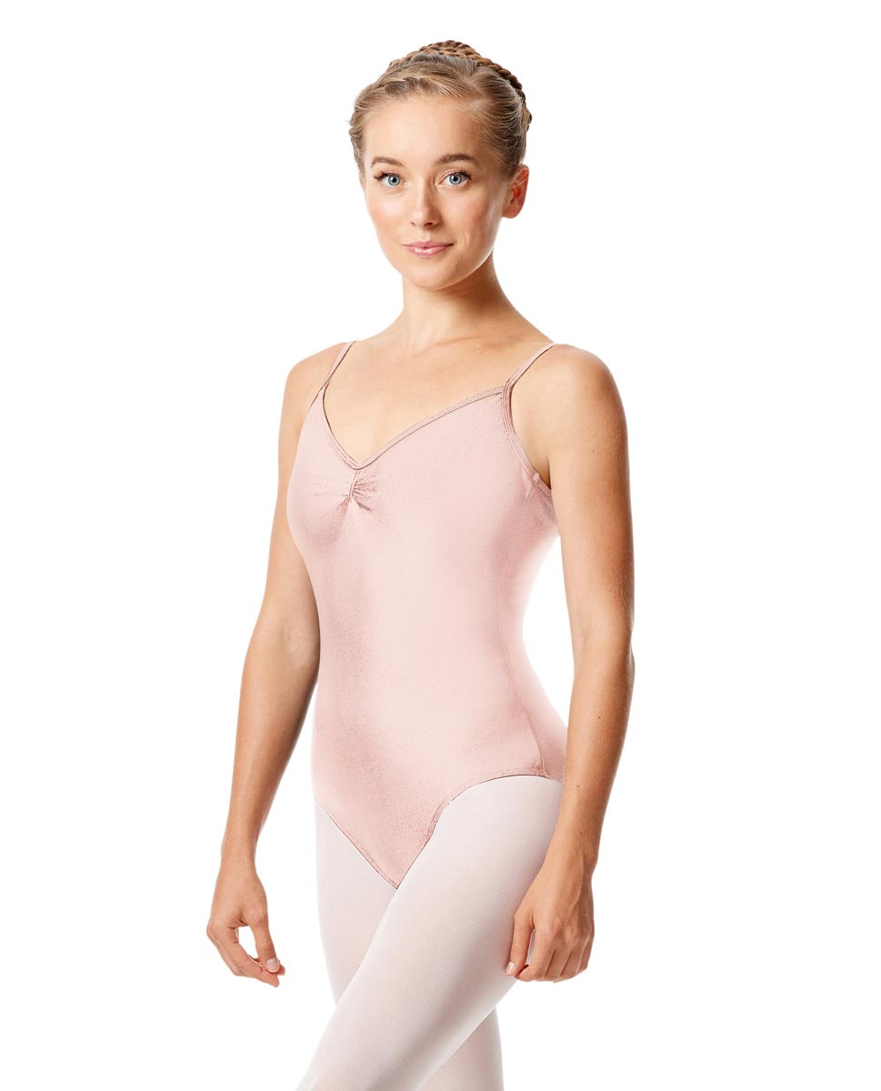 Womens Shiny Pinch Front Camisole Dance Leotard Agnes PNK