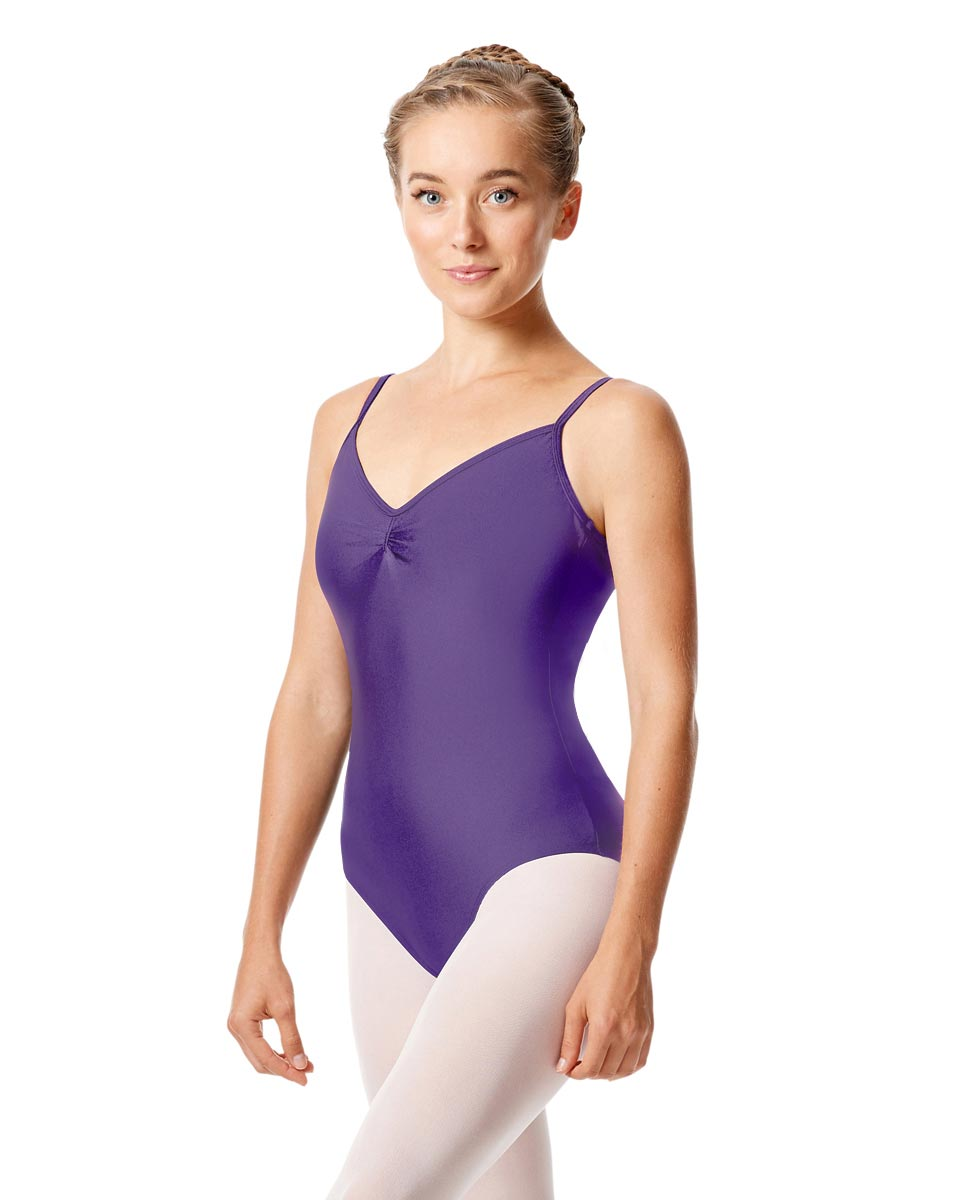 Womens Shiny Pinch Front Camisole Dance Leotard Agnes PUR