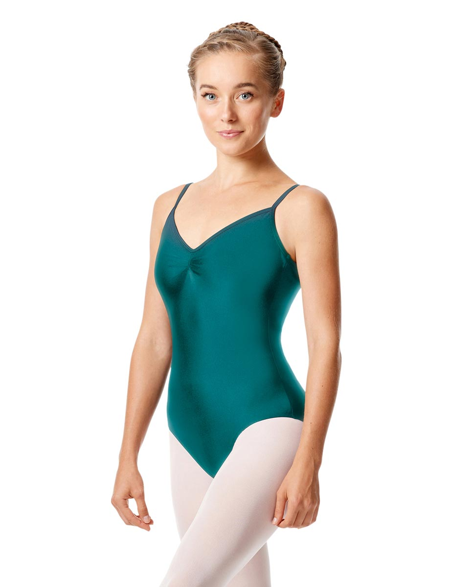 Womens Shiny Pinch Front Camisole Dance Leotard Agnes TEA