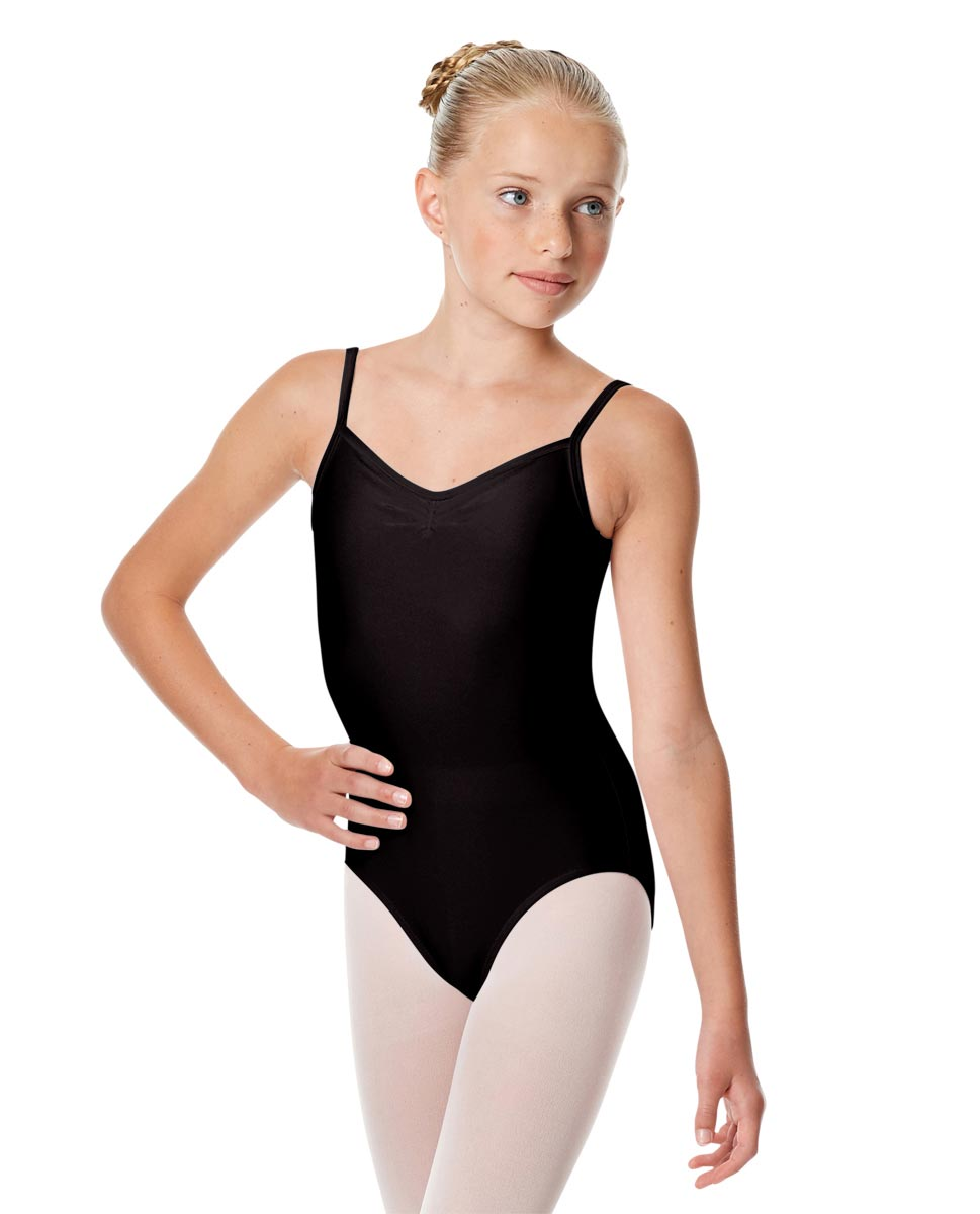 Child Shiny Pinch Front Camisole Dance Leotard Agnes BLK