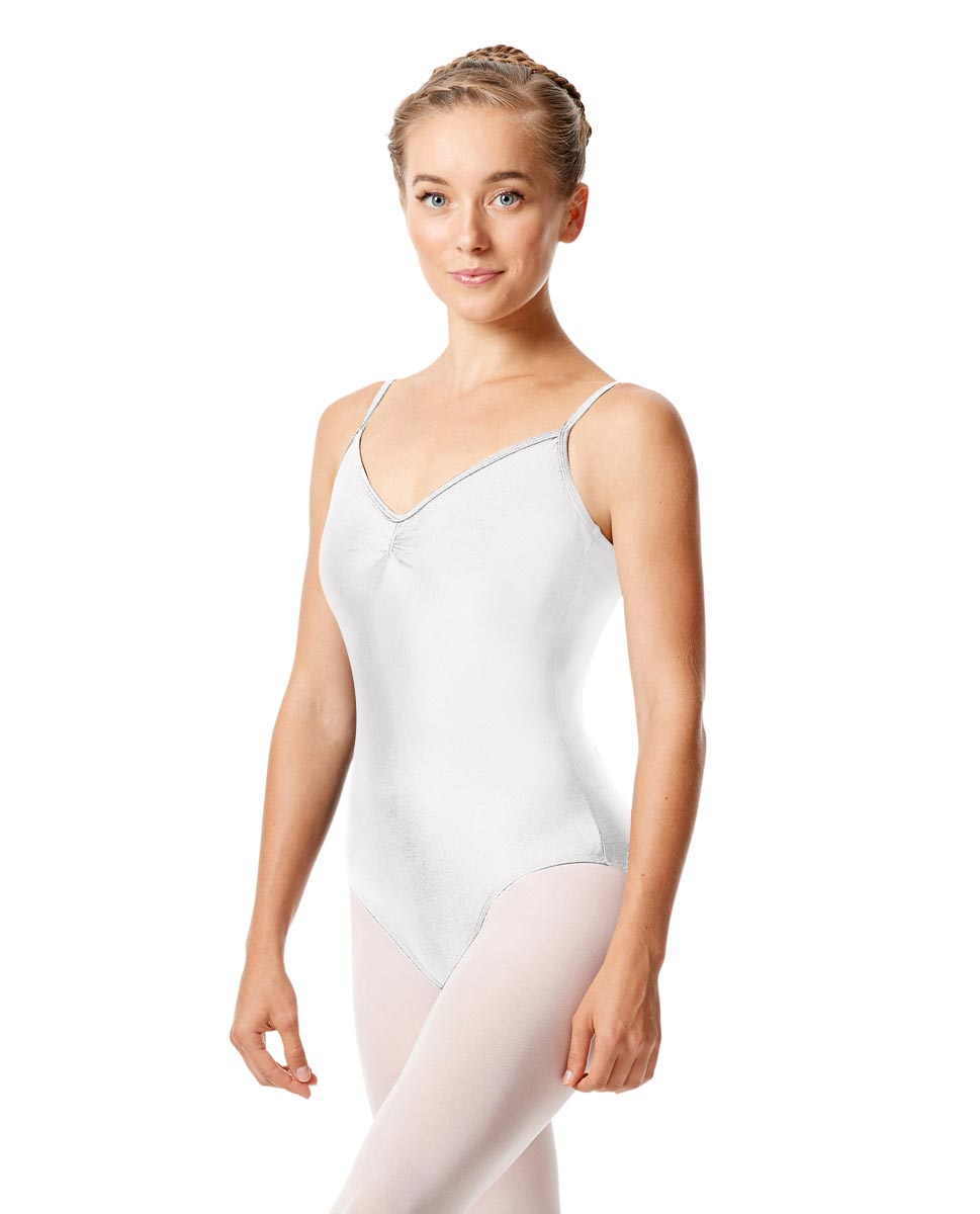 Womens Shiny Pinch Front Camisole Dance Leotard Agnes WHI