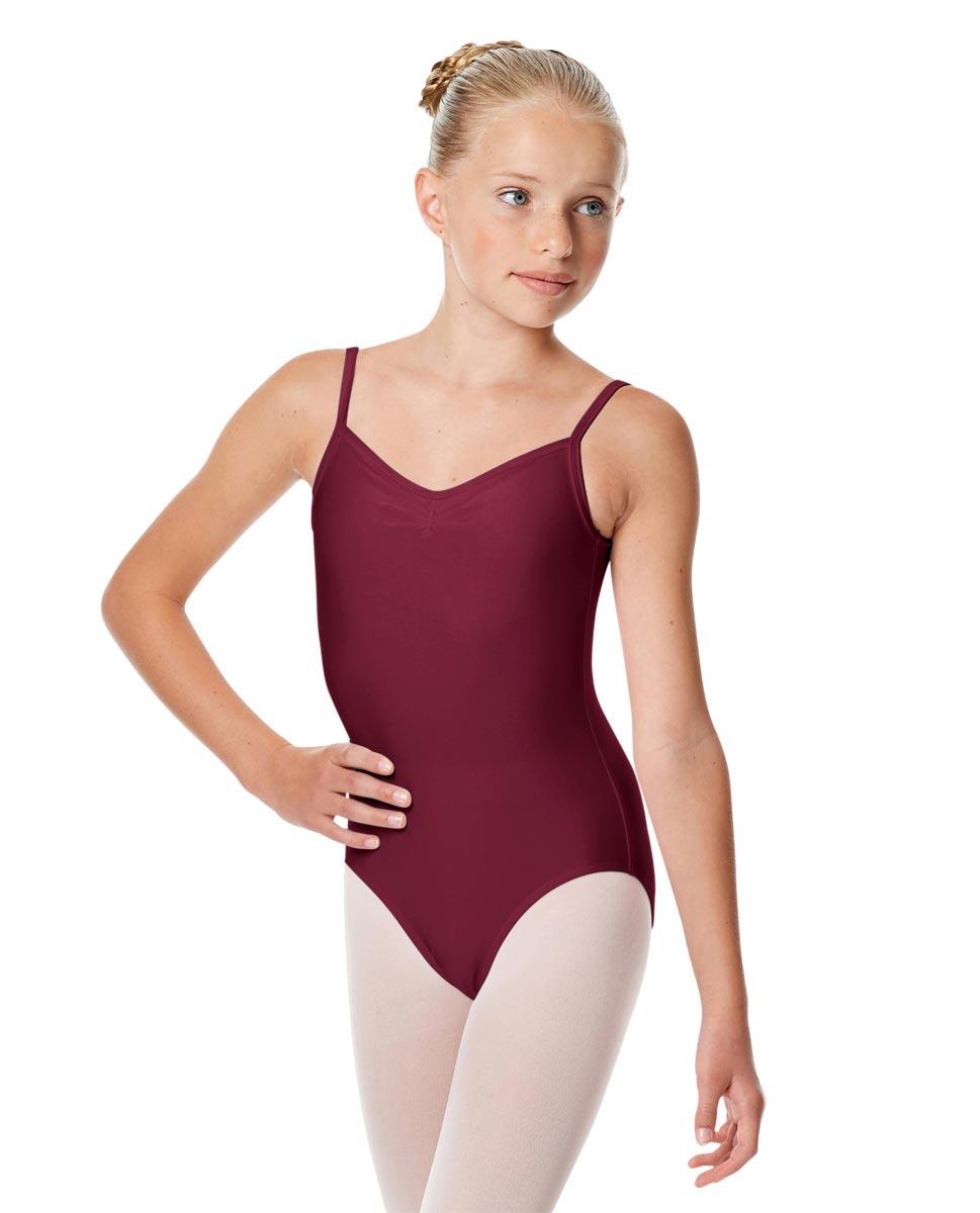Child Shiny Pinch Front Camisole Dance Leotard Agnes BUR