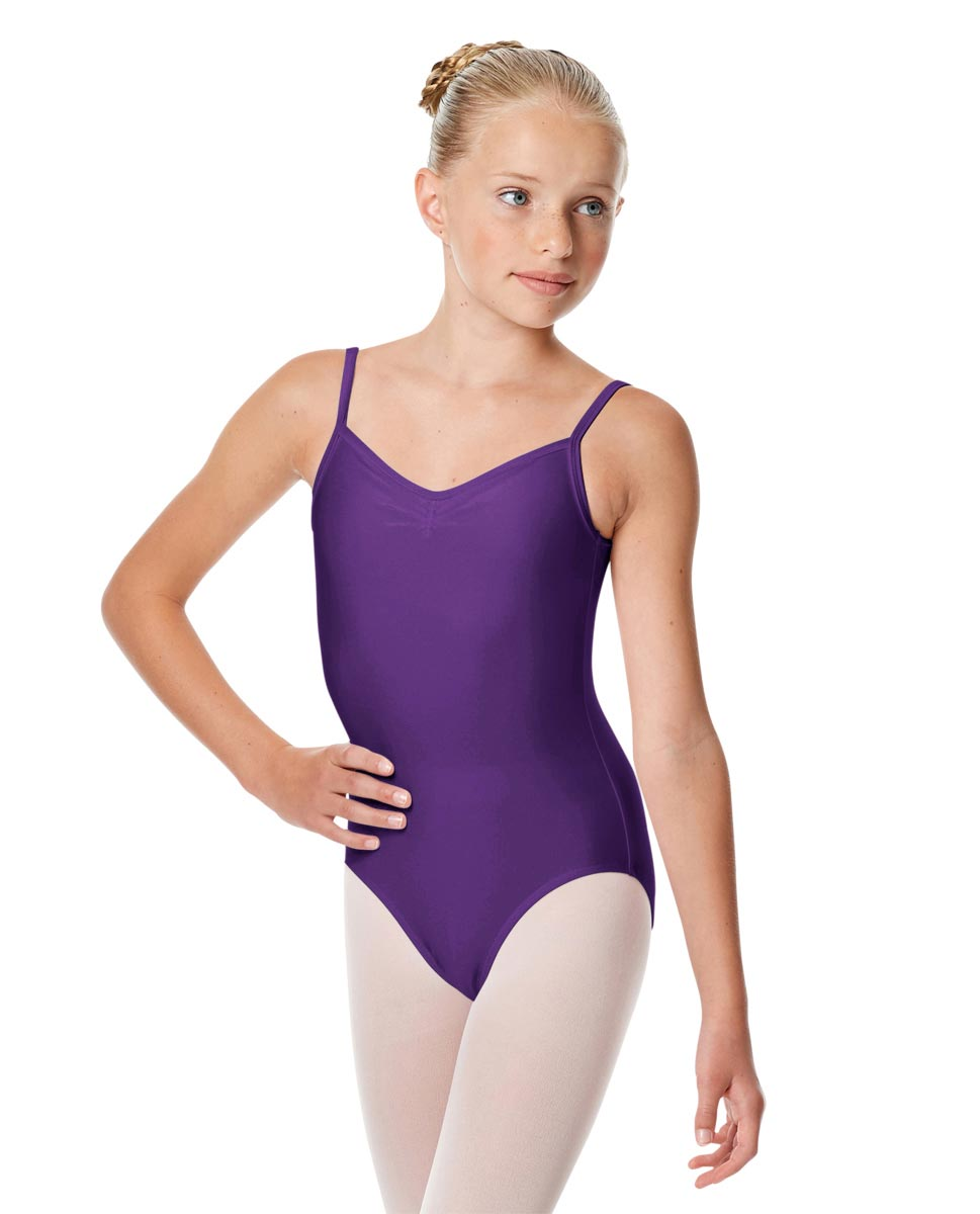 Child Shiny Pinch Front Camisole Dance Leotard Agnes PUR