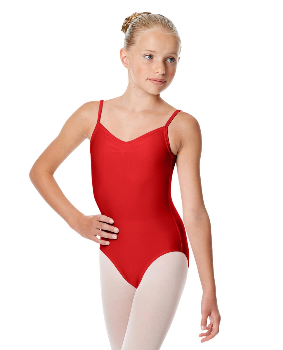 Child Shiny Pinch Front Camisole Dance Leotard Agnes RED