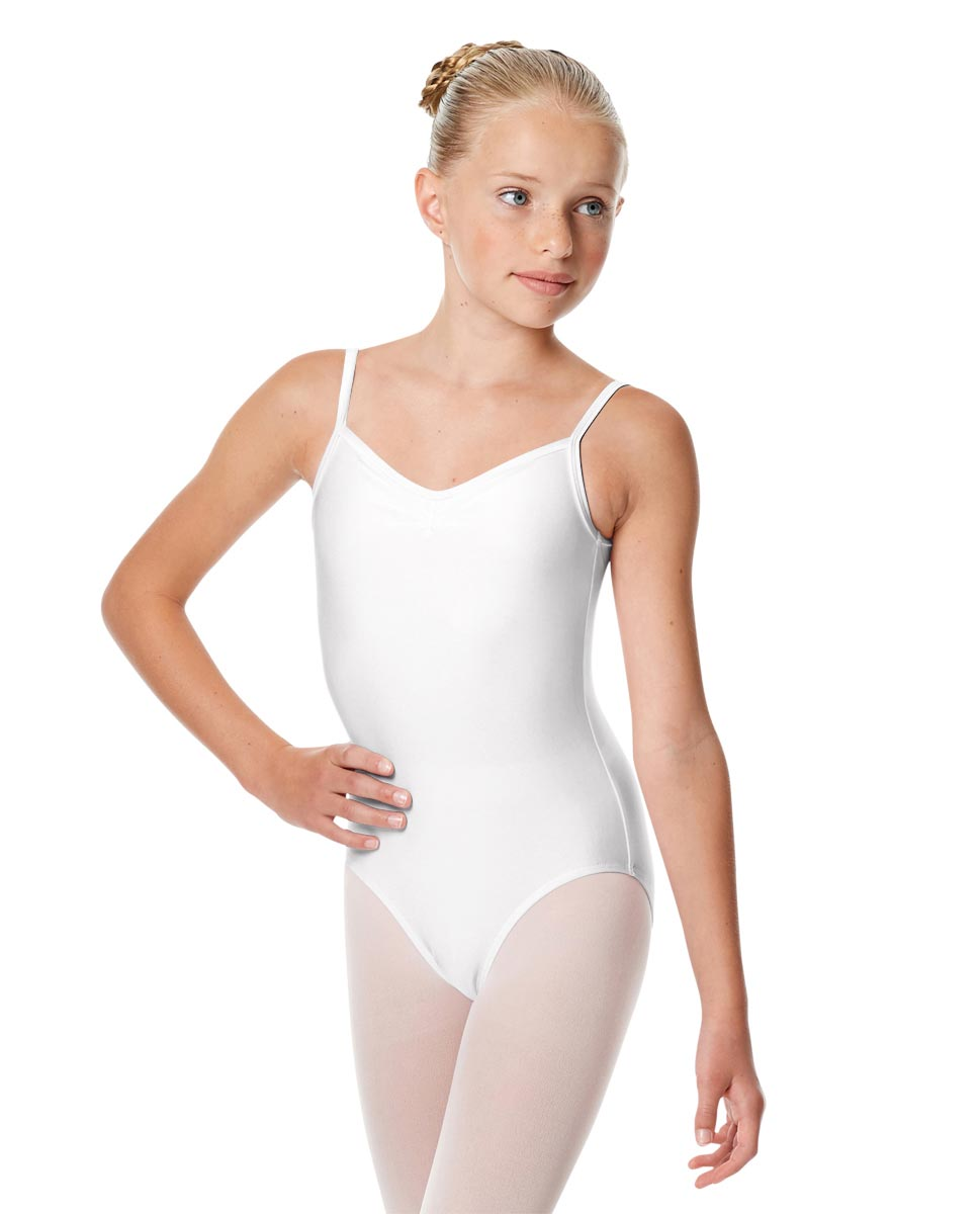 Child Shiny Pinch Front Camisole Dance Leotard Agnes WHI