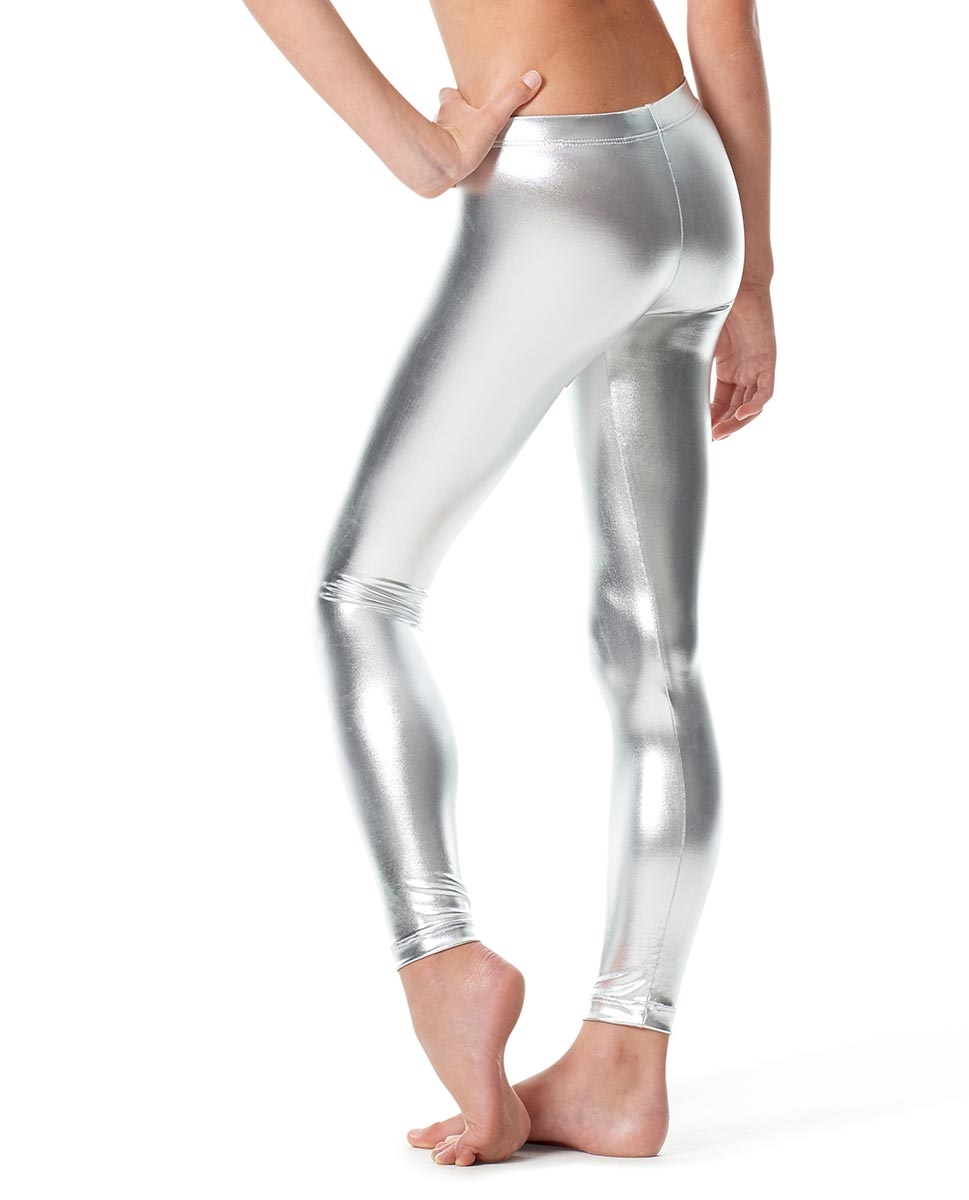 Girls Metallic Ankle Dance Leggings Nadine back
