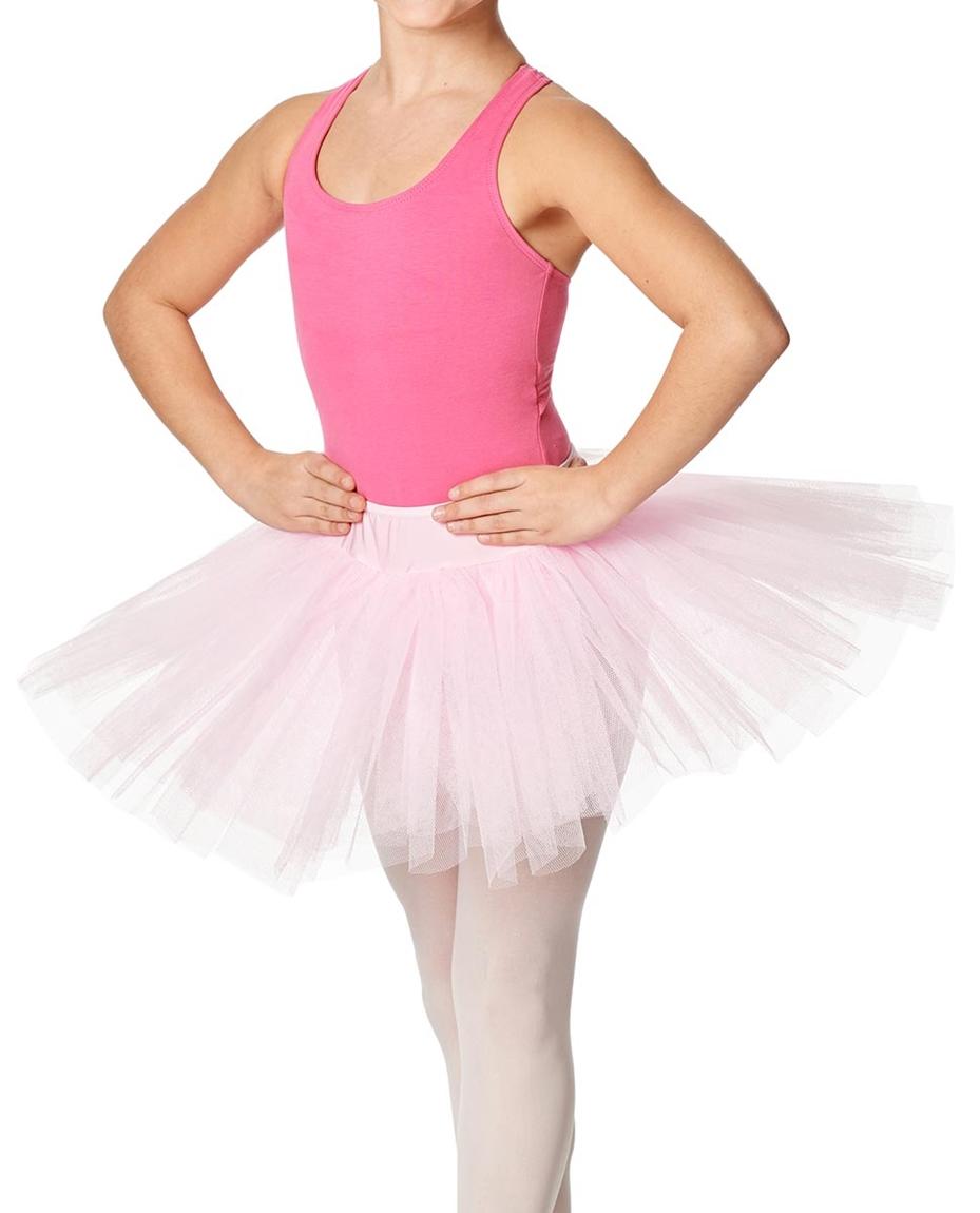 Girls Rehearsal Ballet 4 Layer Tutu Skirt PNK