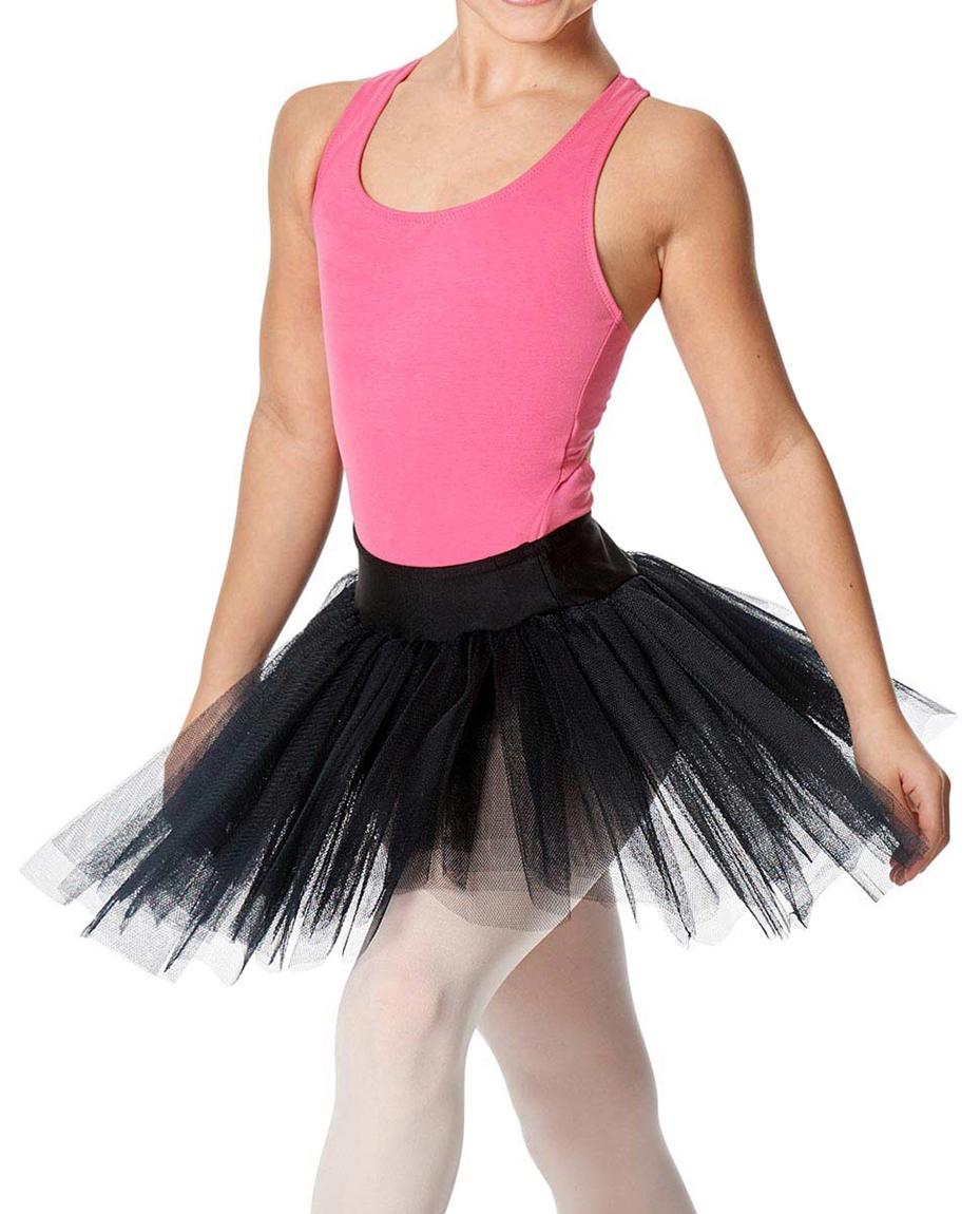 Girls Rehearsal Ballet 4 Layer Tutu Skirt BLK