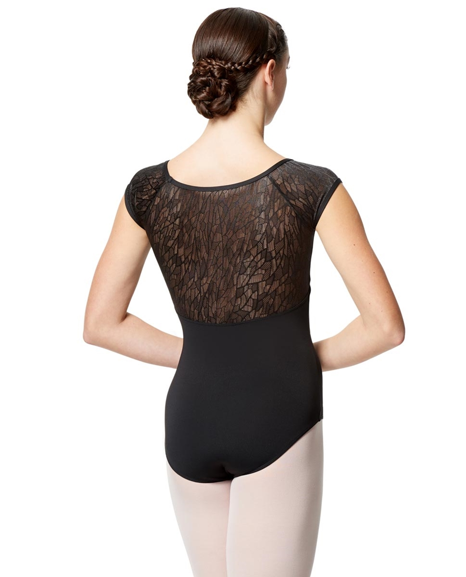 Geo Mesh Cap Sleeve Leotard Ariana For Women 2-geo-mesh-cap-sleeve-leotard-ariana-for-women