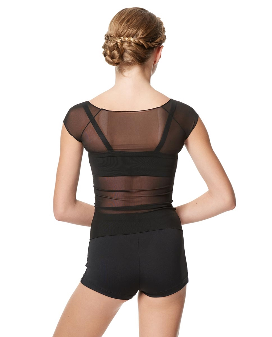 Mesh Cap Sleeve Dance Top Brianna For Girls 2-