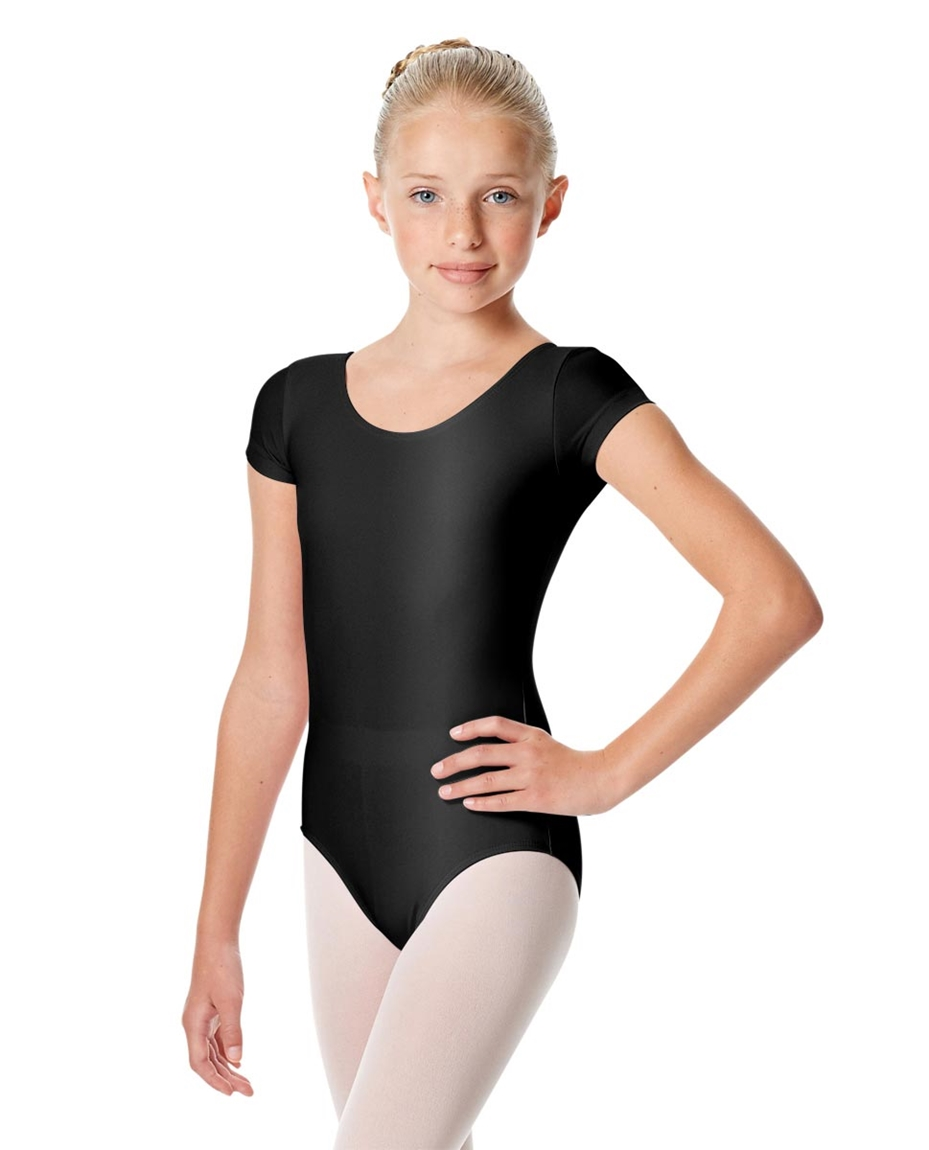 Girls Shiny Short Sleeve Dance Leotard Anastasia 1-