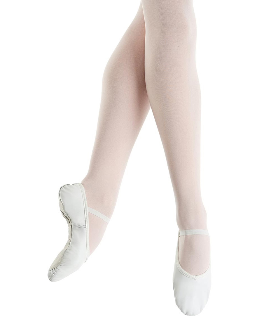 Beginner Full-Sole Leather Ballet Slippers whi