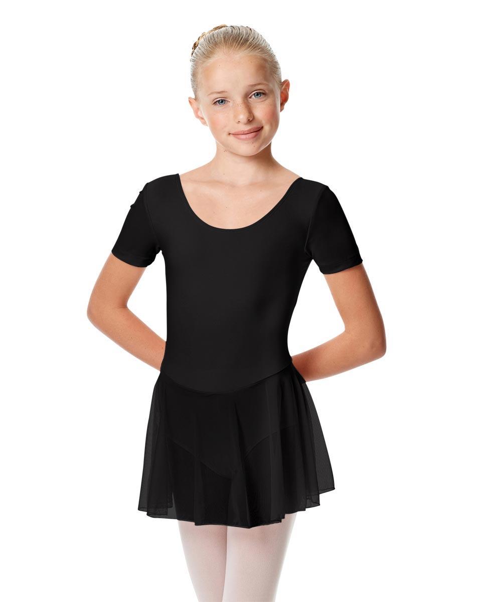 Child Short Sleeve Skirted Ballet Leotard Nelly BLK