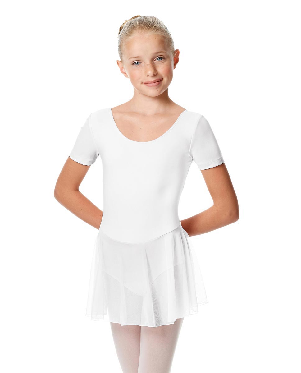 Child Short Sleeve Skirted Ballet Leotard Nelly WHI