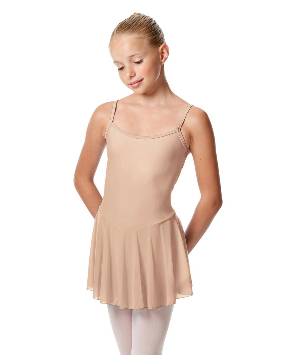 Girls Camisole Mesh Skirted Ballet Leotard Bianca NUD