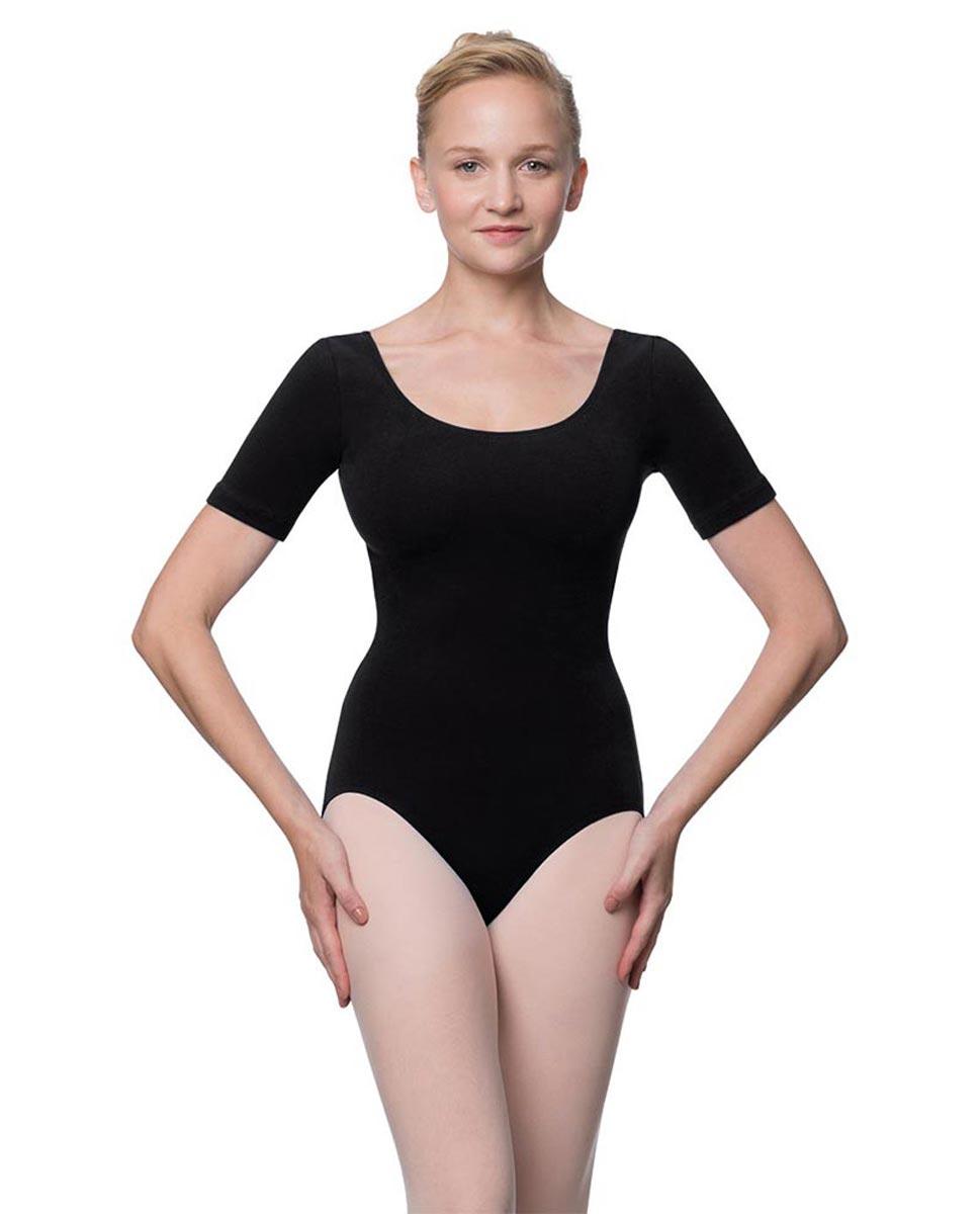 Adults Fitted Short Sleeve Ballet Leotard Lauretta BLK