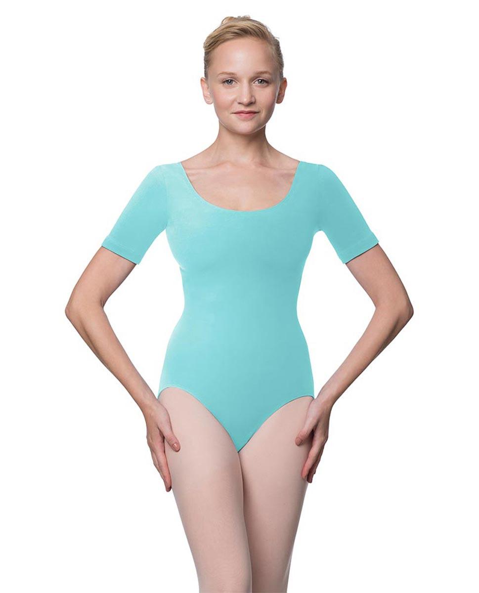Adults Fitted Short Sleeve Ballet Leotard Lauretta AQU