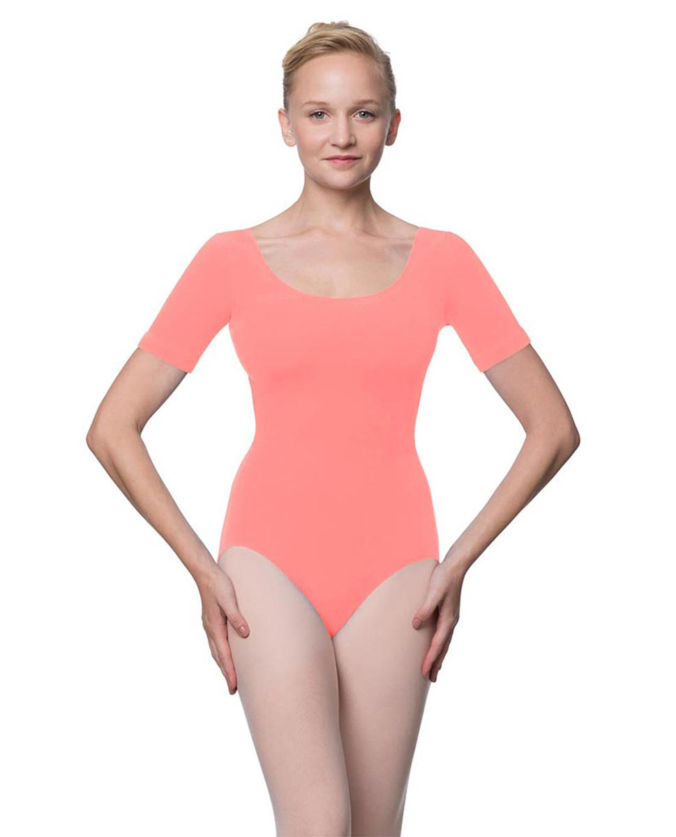 Adults Fitted Short Sleeve Ballet Leotard Lauretta PEAC