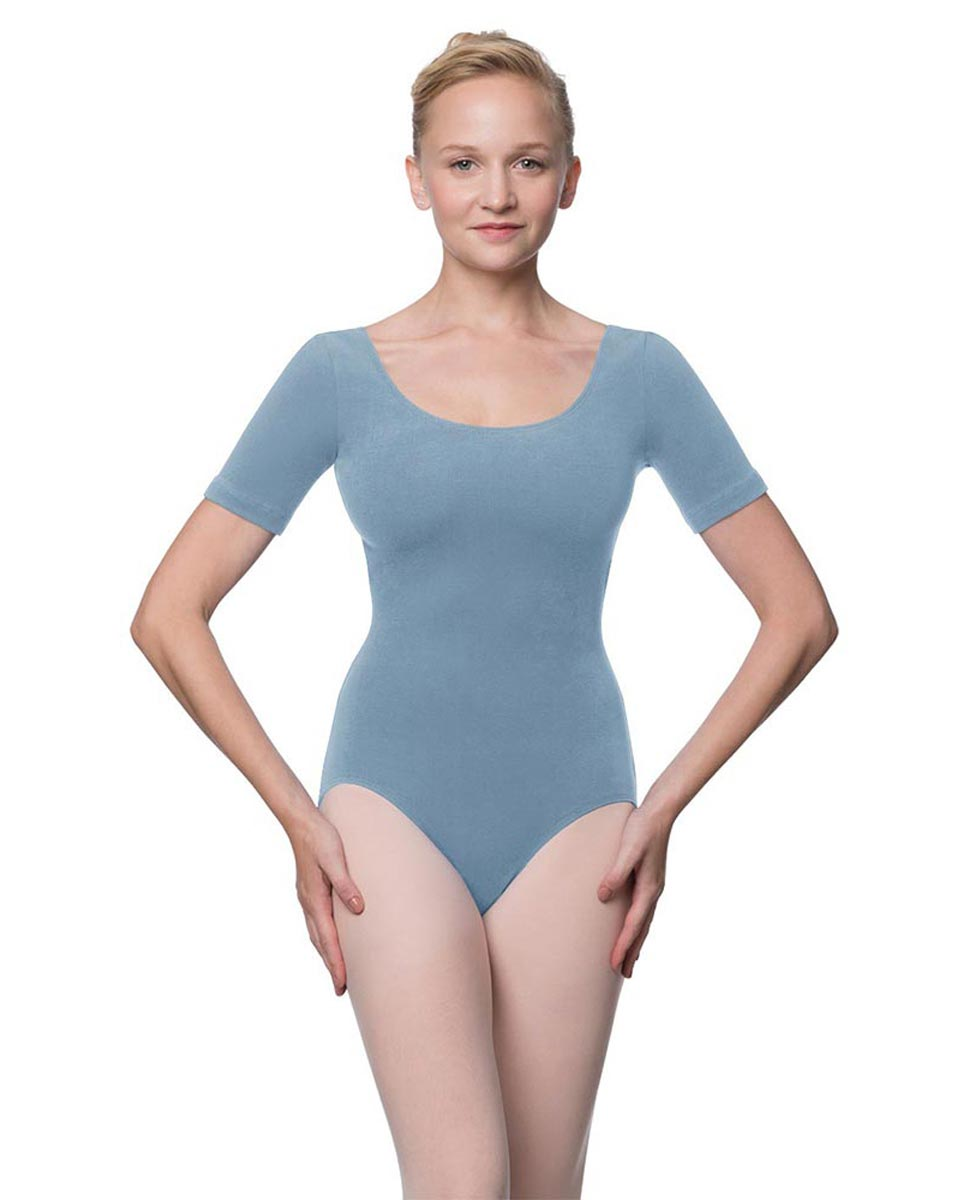 Adults Fitted Short Sleeve Ballet Leotard Lauretta SKY