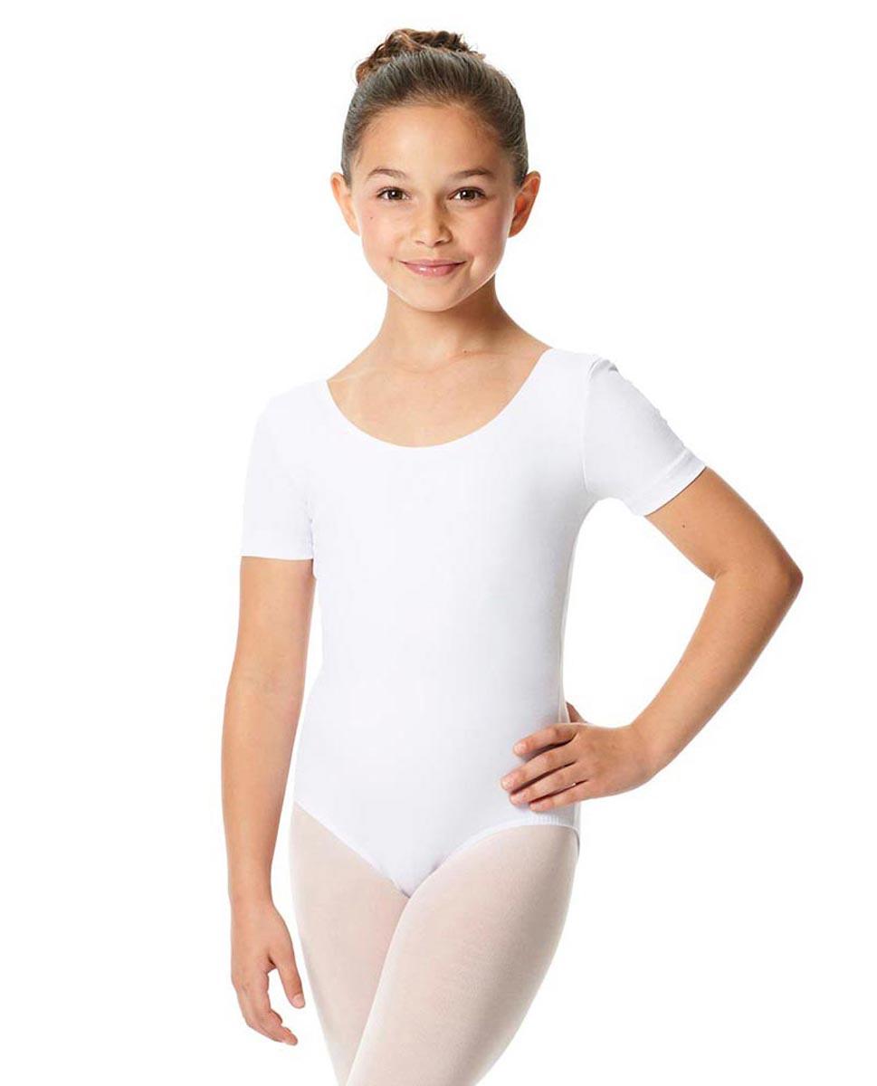 Child Short Sleeve Ballet Leotard Lauretta WHI
