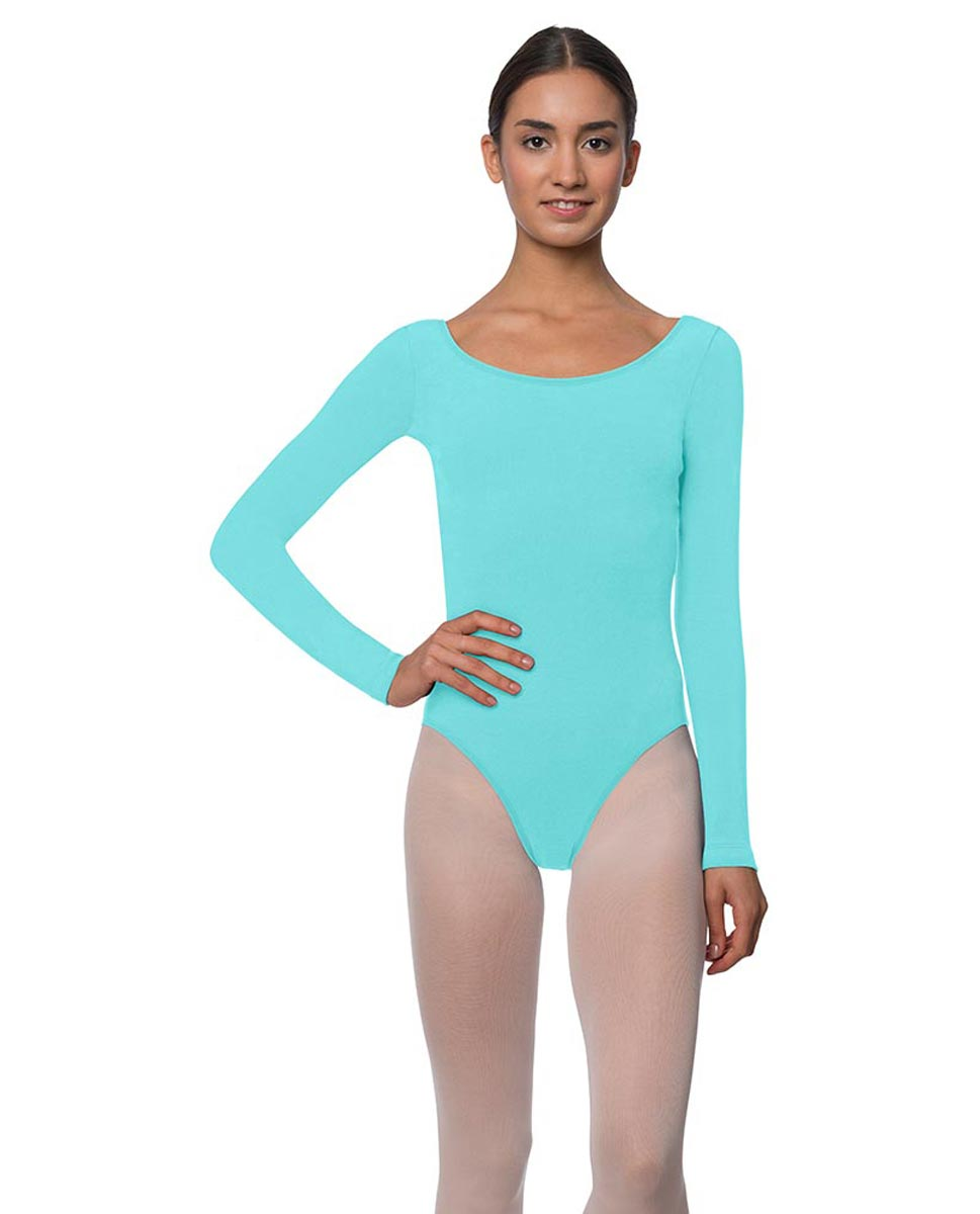 Adults Long Sleeved Velvety Ballet Leotard Liv AQU