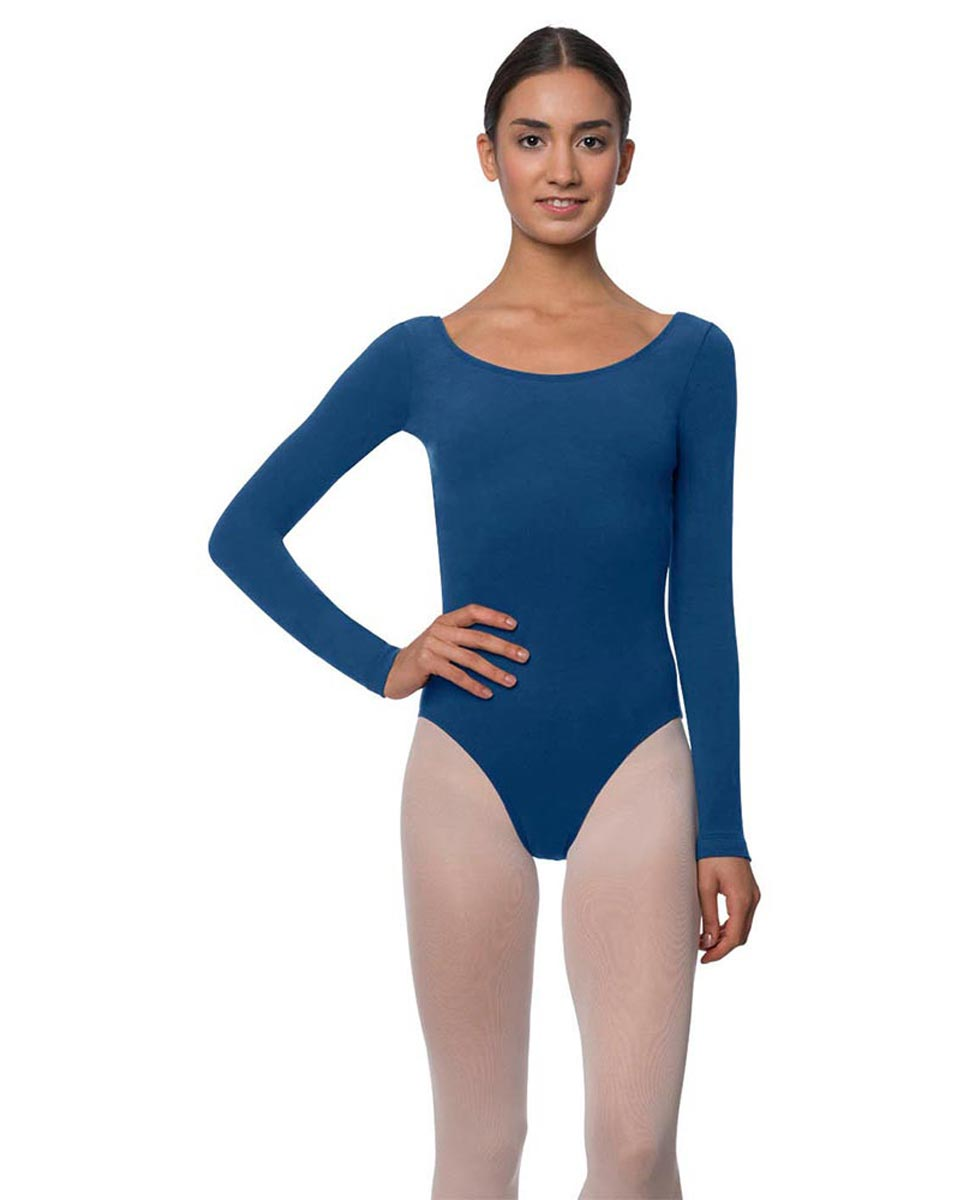 Adults Long Sleeved Velvety Ballet Leotard Liv BLUE