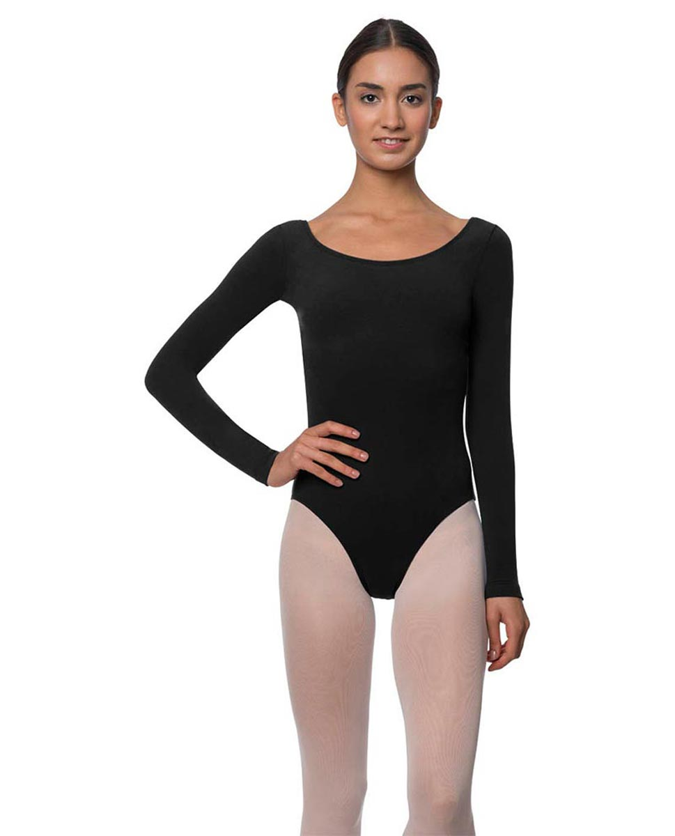 Adults Long Sleeved Velvety Ballet Leotard Liv BLK