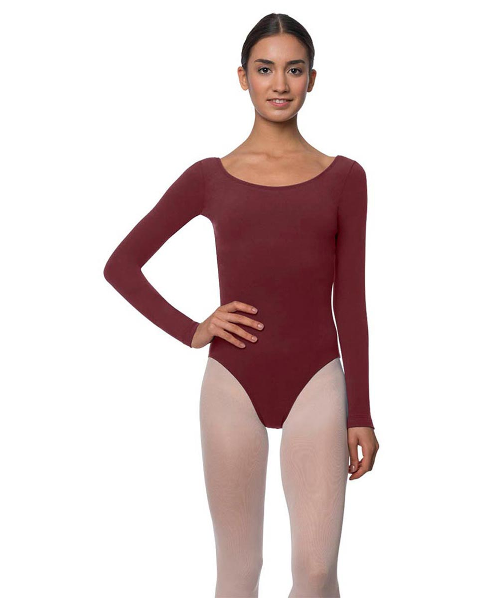 Adults Long Sleeved Velvety Ballet Leotard Liv BUR