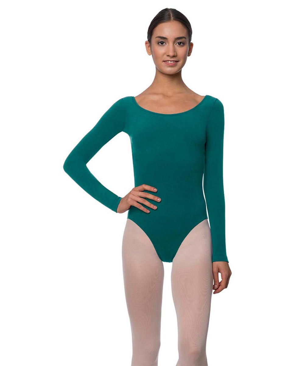Adults Long Sleeved Velvety Ballet Leotard Liv TEA
