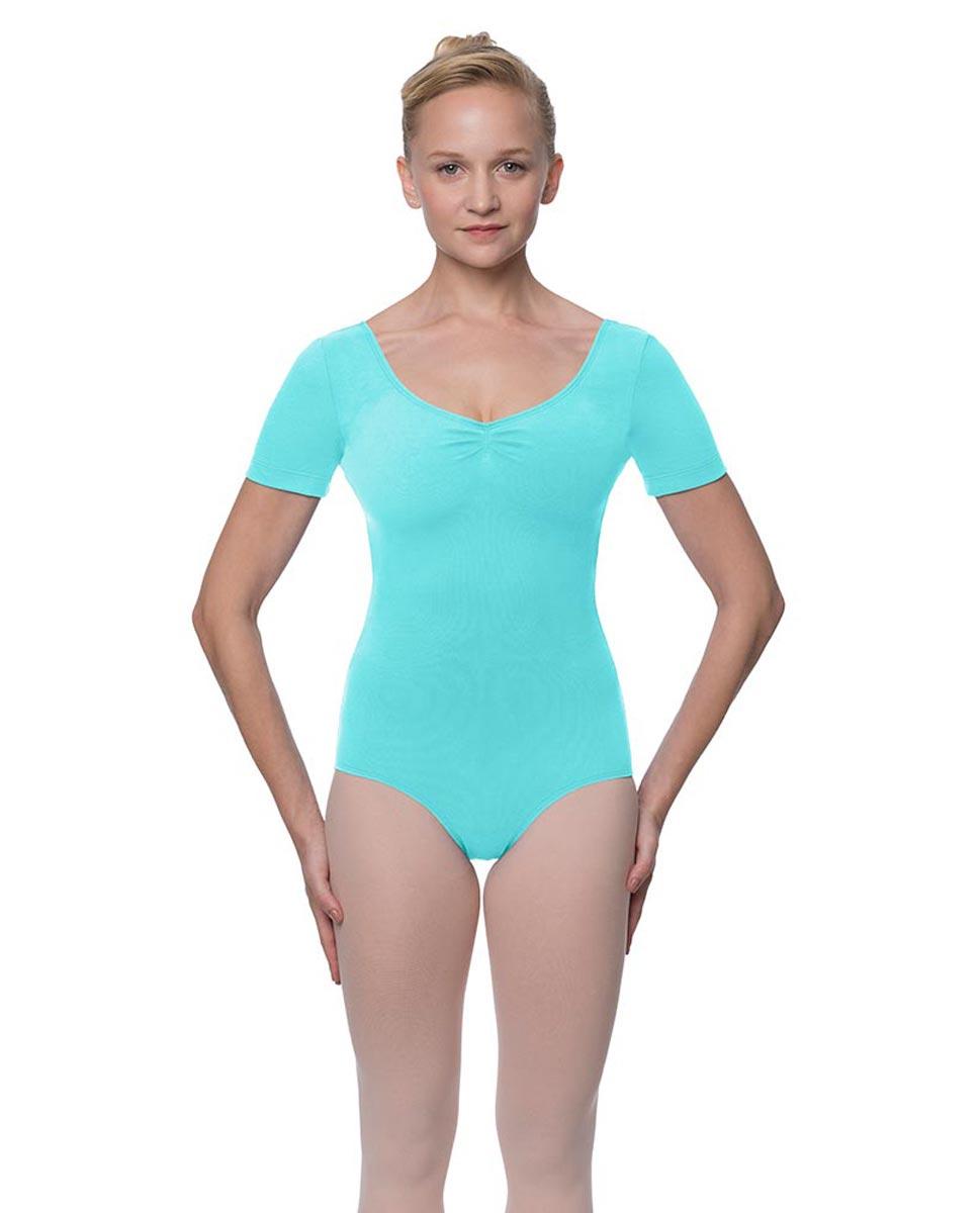 Womens Pinch Front and Back Short Sleeve Ballet Leotard Mckenzie AQU