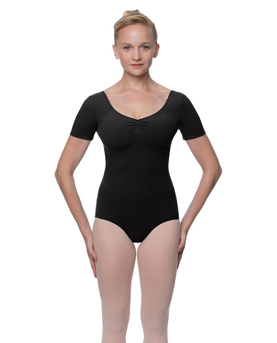 Womens Pinch Front and Back Short Sleeve Ballet Leotard Mckenzie BLK