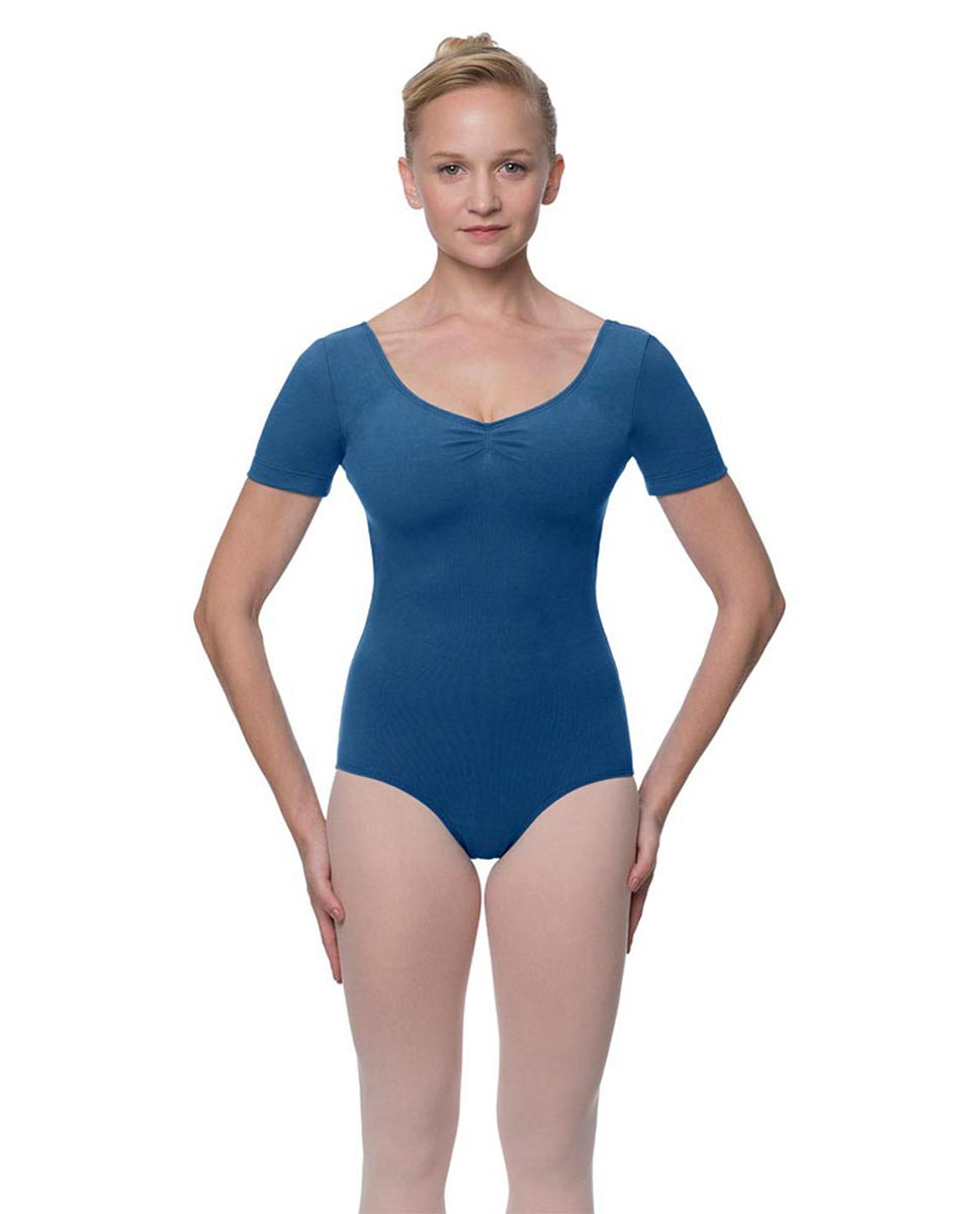 Womens Pinch Front and Back Short Sleeve Ballet Leotard Mckenzie BLUE