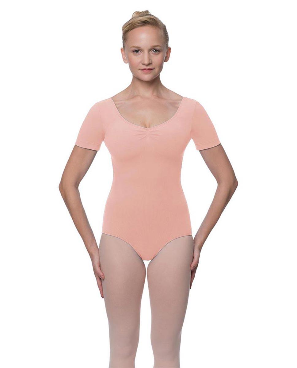 Womens Pinch Front and Back Short Sleeve Ballet Leotard Mckenzie BPINK