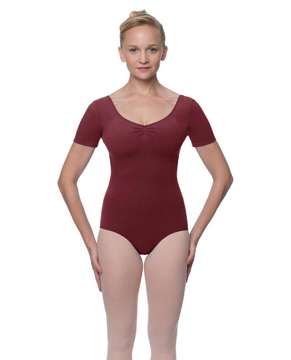 Womens Pinch Front and Back Short Sleeve Ballet Leotard Mckenzie BUR