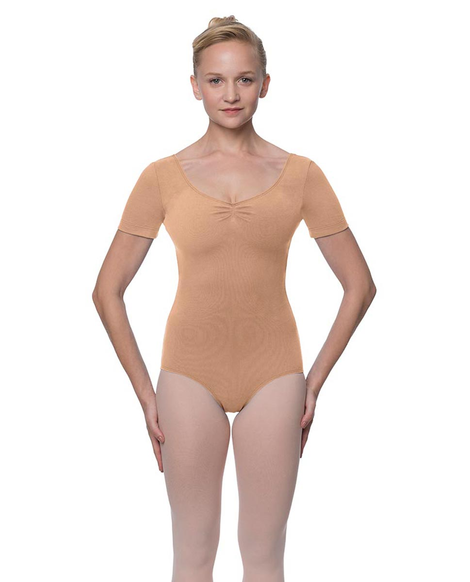 Womens Pinch Front and Back Short Sleeve Ballet Leotard Mckenzie DNUD