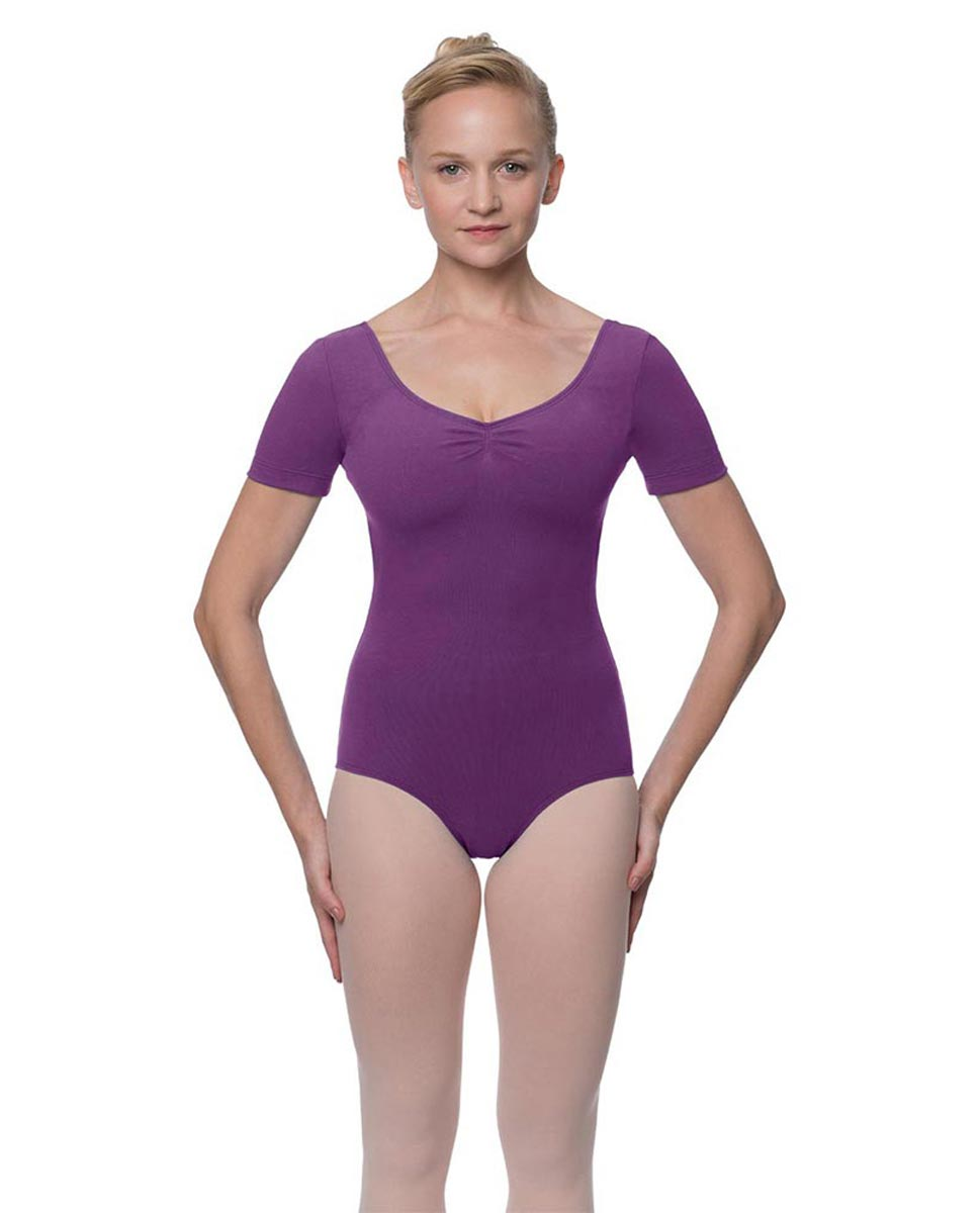 Womens Pinch Front and Back Short Sleeve Ballet Leotard Mckenzie GRAP