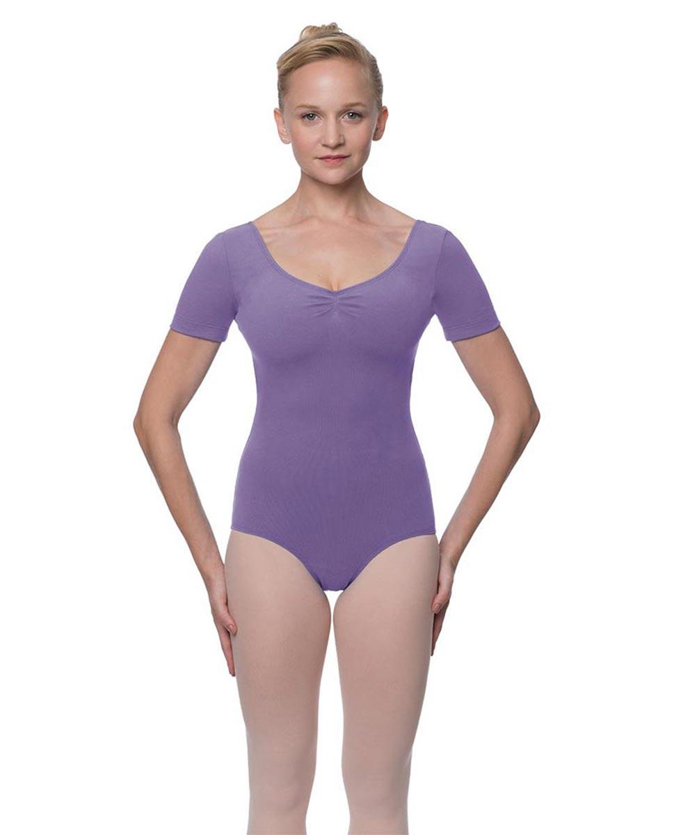 Womens Pinch Front and Back Short Sleeve Ballet Leotard Mckenzie LAV