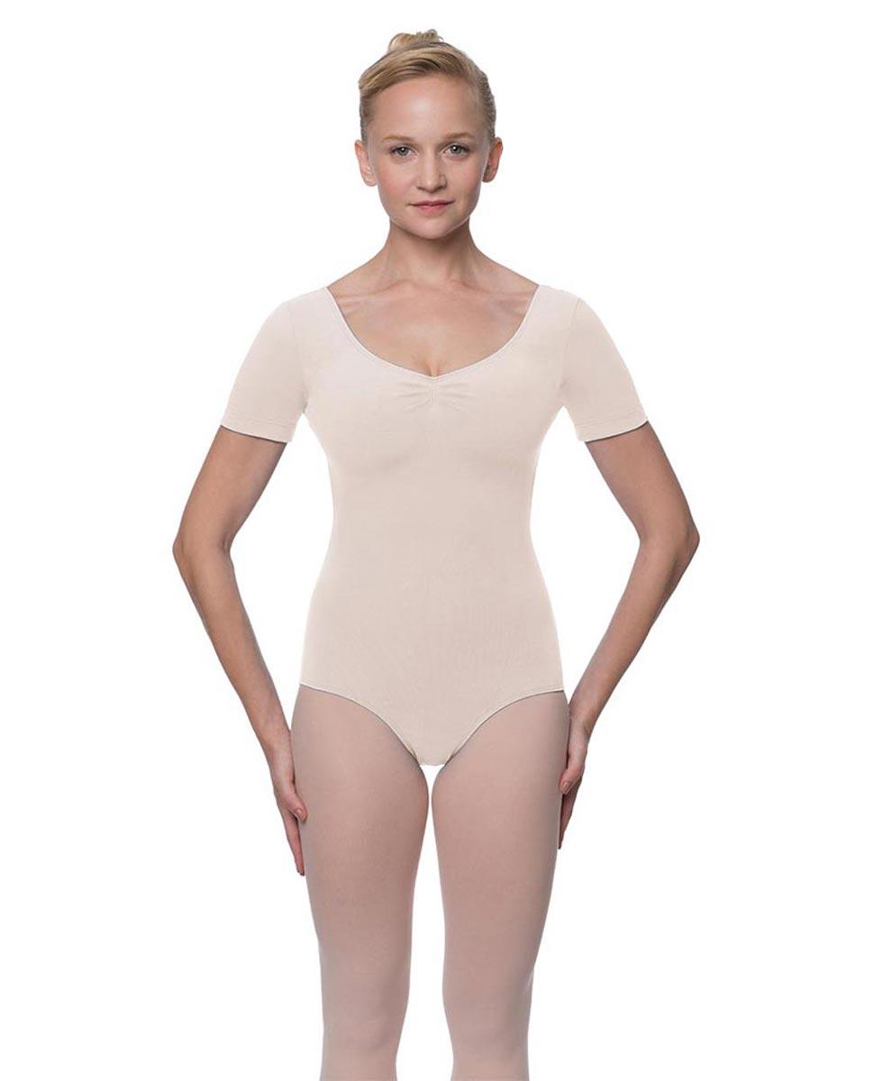 Womens Pinch Front and Back Short Sleeve Ballet Leotard Mckenzie LPNK