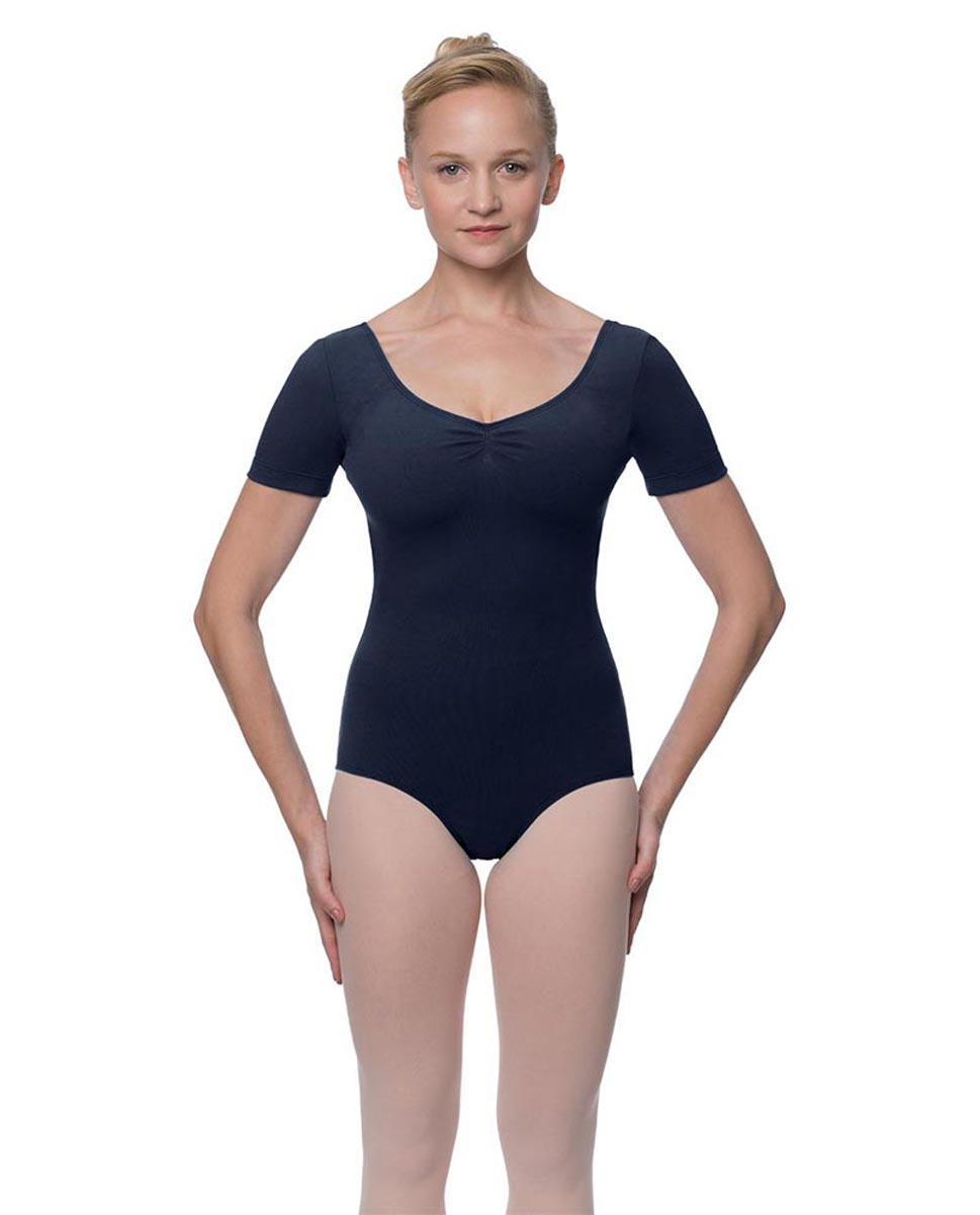 Womens Pinch Front and Back Short Sleeve Ballet Leotard Mckenzie NAY