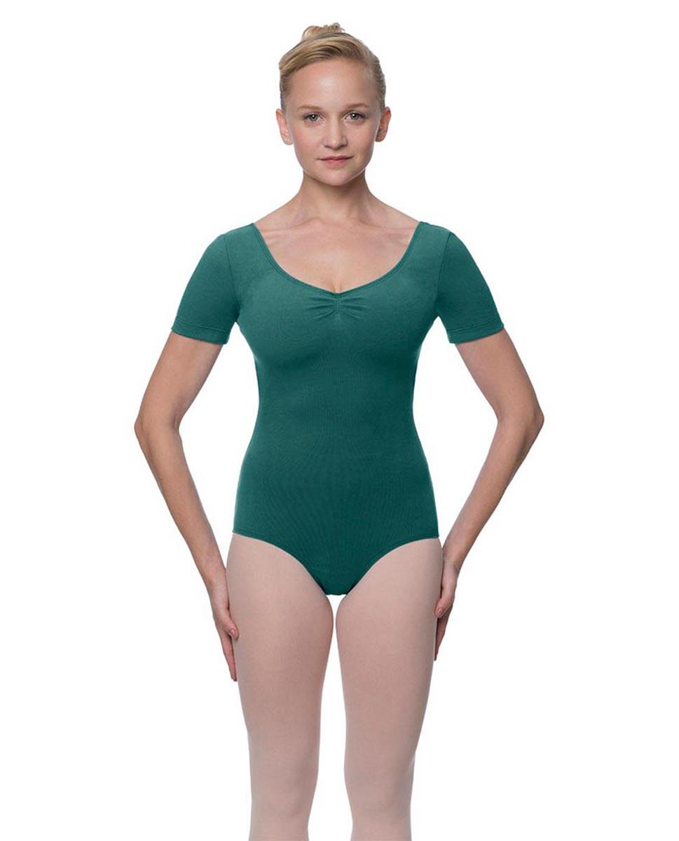 Womens Pinch Front and Back Short Sleeve Ballet Leotard Mckenzie TEA