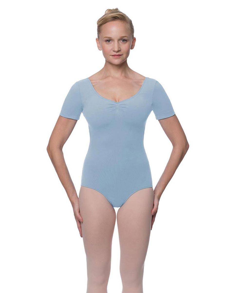 Womens Pinch Front and Back Short Sleeve Ballet Leotard Mckenzie SKY