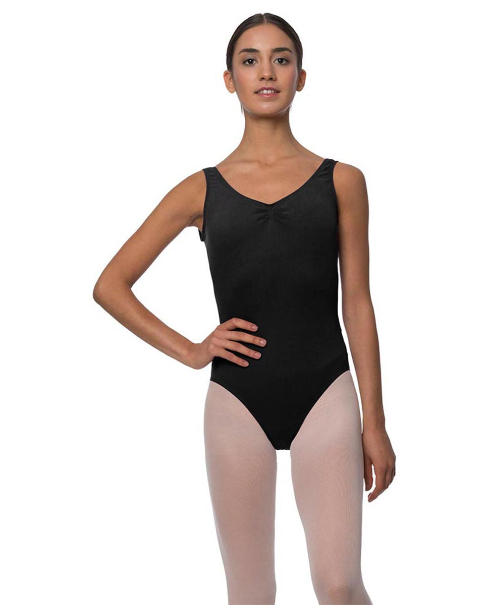 Adults Pinch Front and Low Back Tank Dance Leotard Luna BLK
