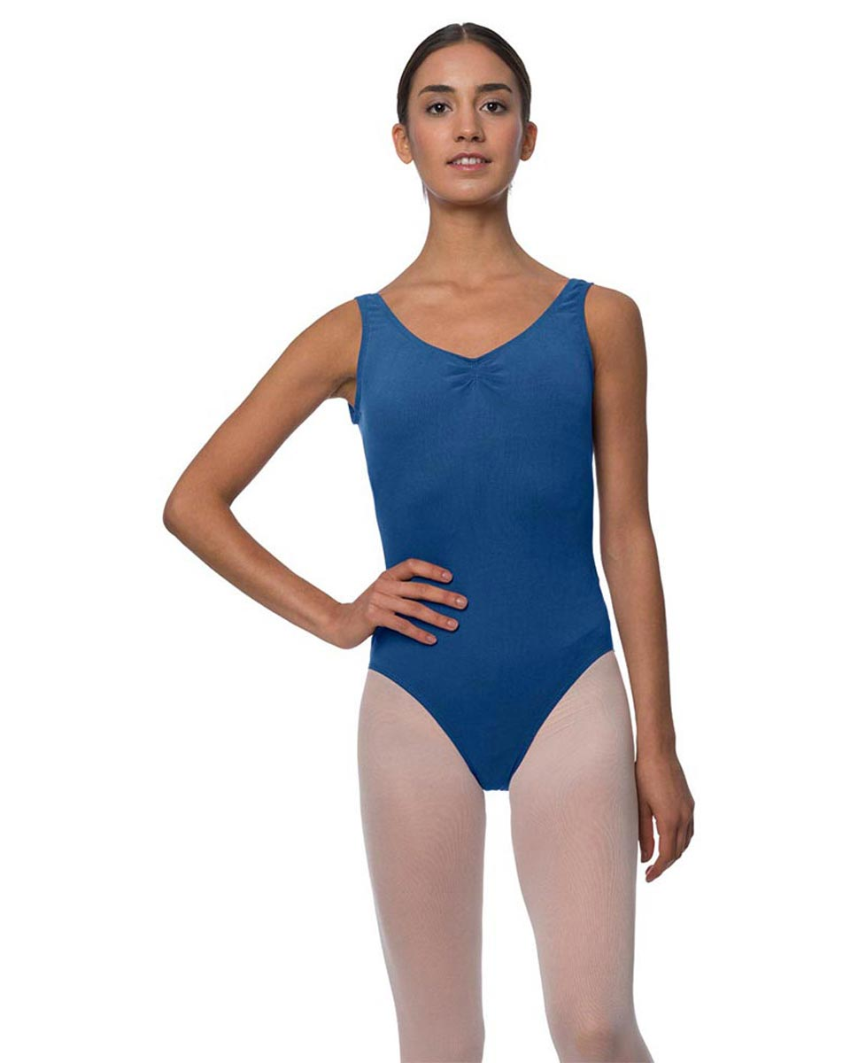Adults Pinch Front and Low Back Tank Dance Leotard Luna BLUE