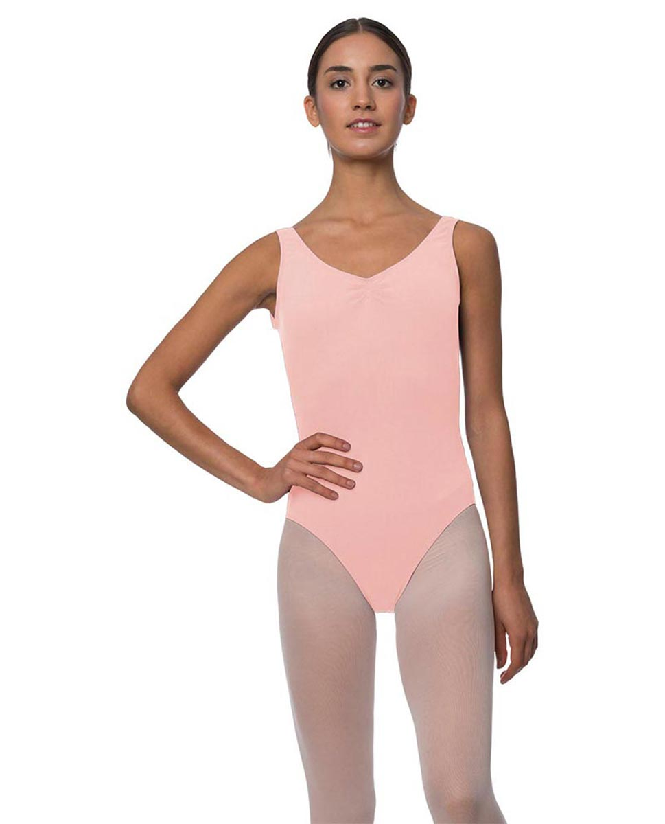 Adults Pinch Front and Low Back Tank Dance Leotard Luna BPINK